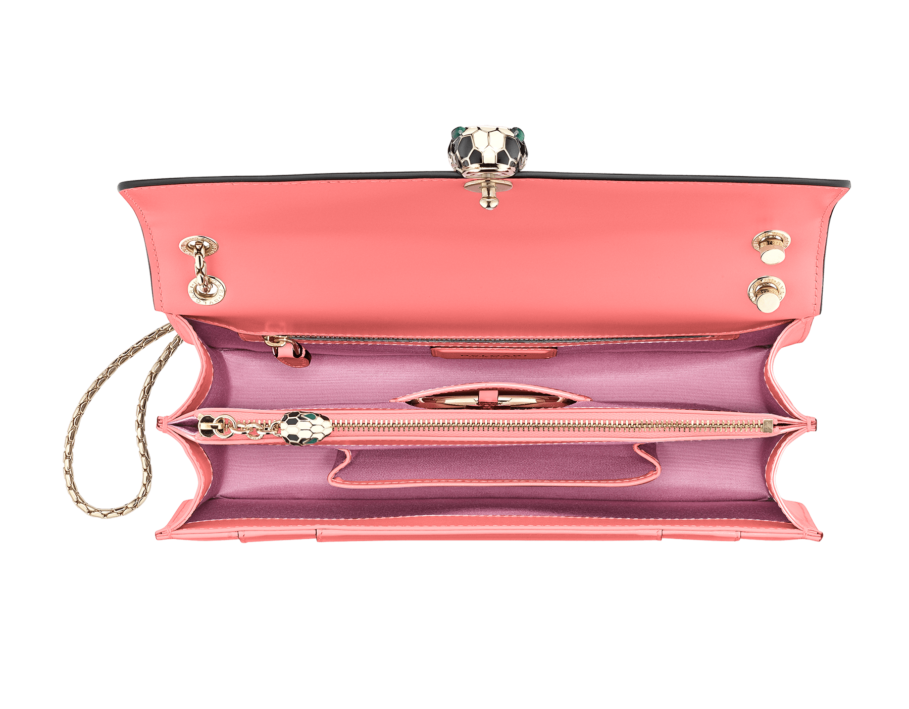 Serpenti Forever shoulder bag in silky coral calf leather. Iconic snakehead closure in light gold plated brass embellished with black and white enamel and green malachite eyes. 288704 image 4