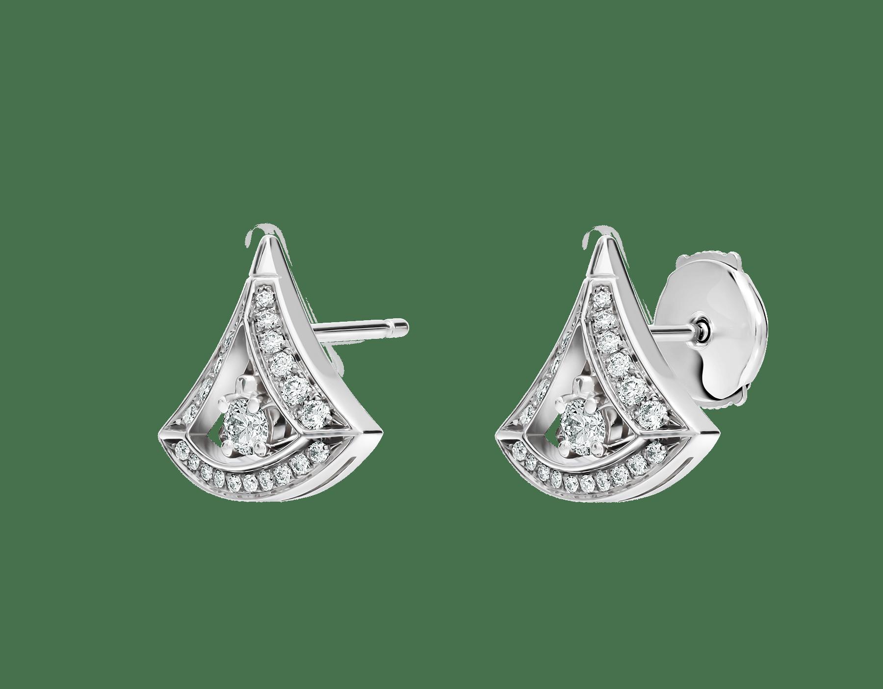Pendientes calados DIVAS' DREAM en oro blanco de 18 qt con pavé de diamantes y un diamante central (0,50 ct). 354194 image 2
