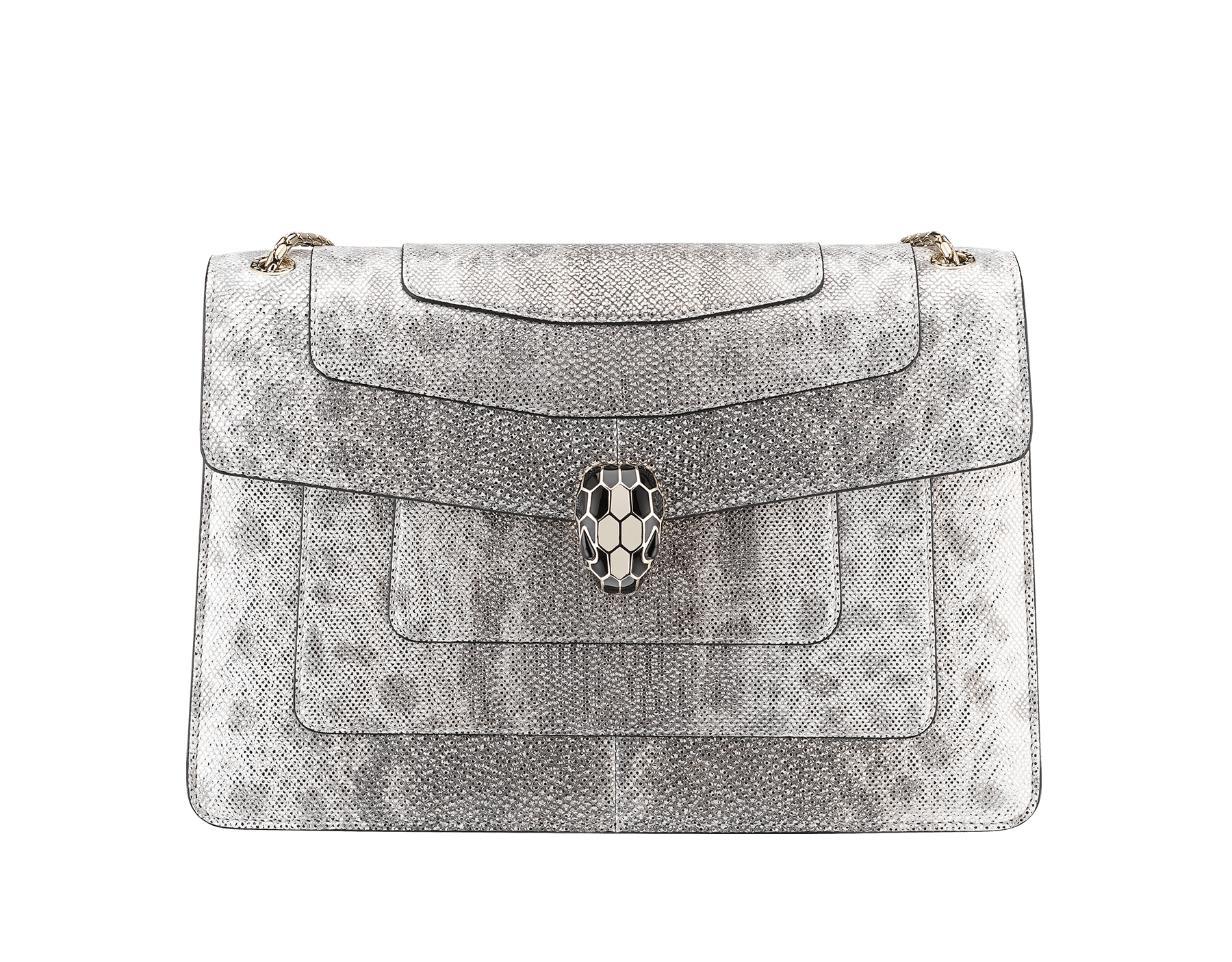 """Serpenti Forever"" shoulder bag in white agate metallic karung skin. Iconic snakehead closure in light gold plated brass enriched with black and white agate enamel and black onyx eyes. 288797 image 1"