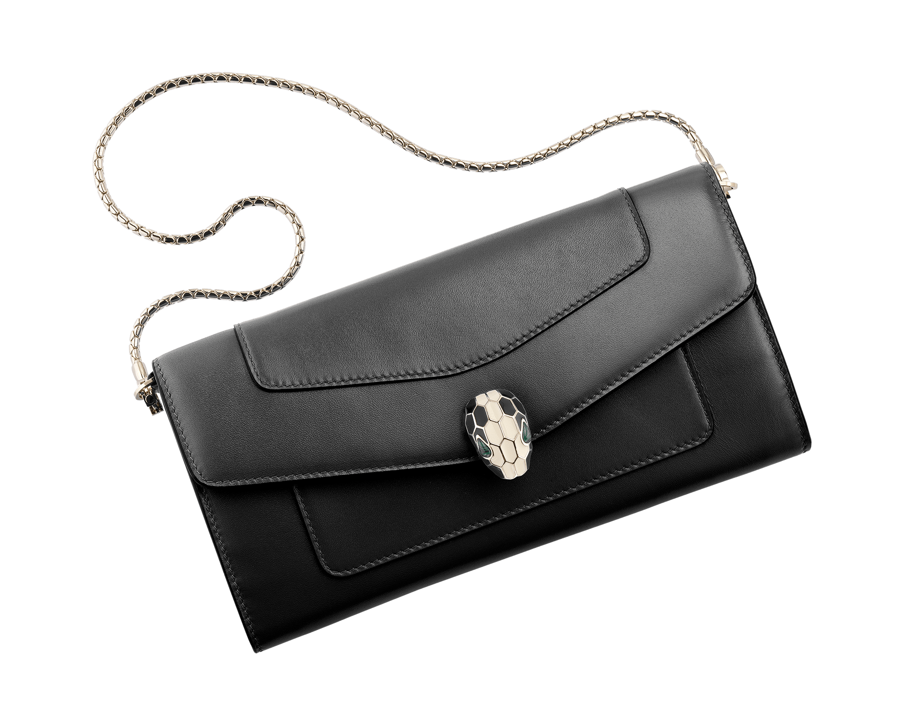 Wallet pouch in black and emerald green calf leather, with malachite nappa lining. Brass light gold plated hardware and removable snake body shaped short chain. 280467 image 1