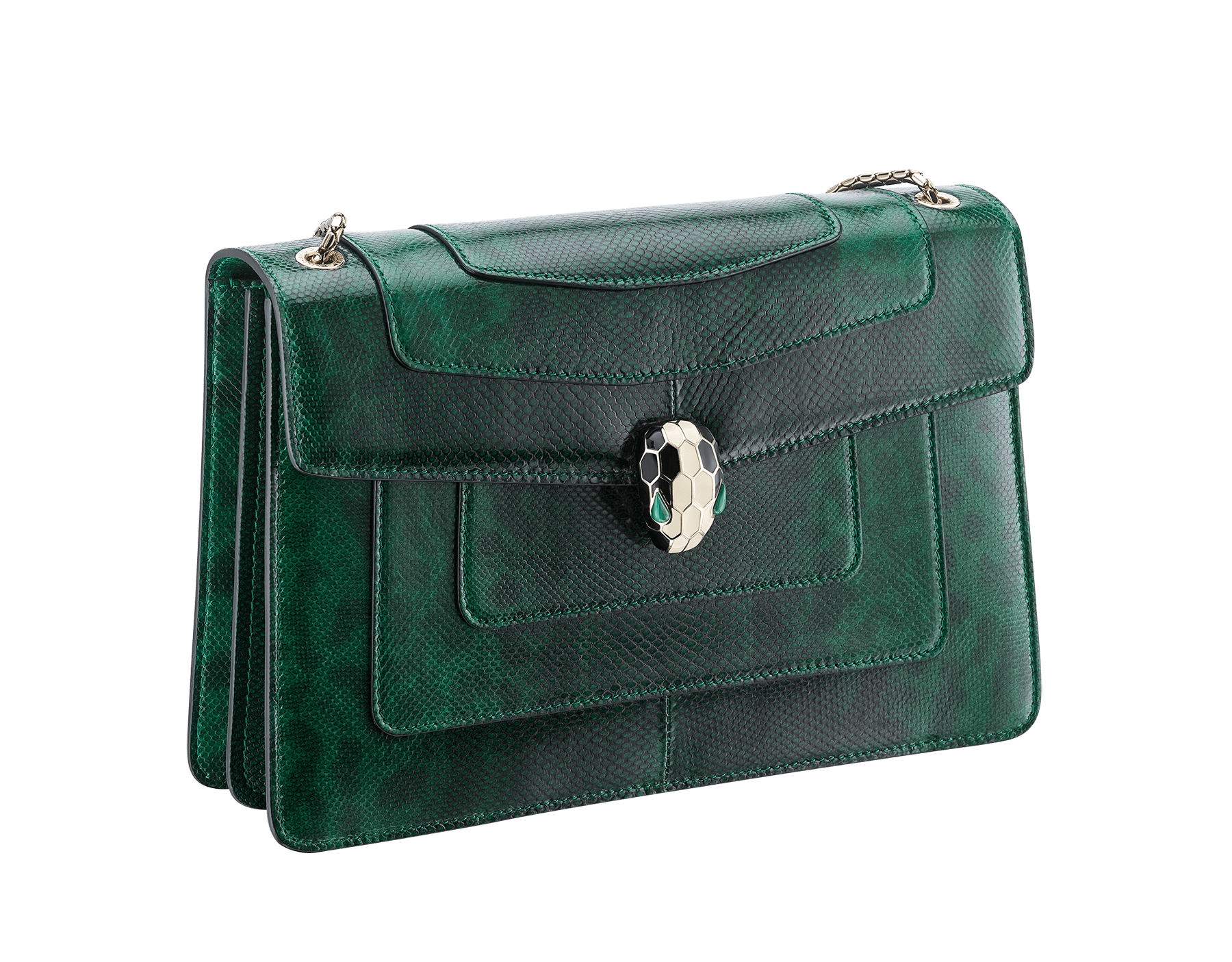 Flap cover bag Serpenti Forever in roman garnet shiny karung skin. Brass light gold plated tempting snake head closure in shiny black and white enamel, with eyes in green malachite. 521-SK image 2