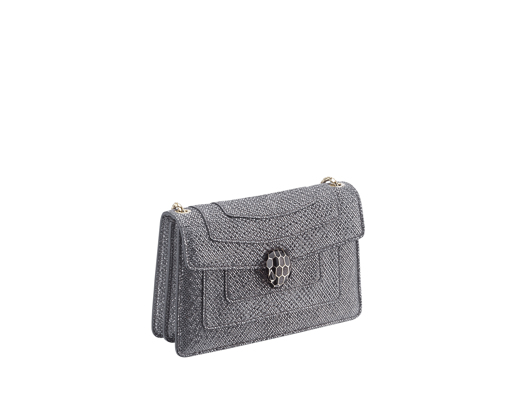 Serpenti Forever mini crossbody bag in white agate metallic karungskin. Brass light gold-plated snake head closure in black and white enamel, with black onyx eyes. 986-MK image 2