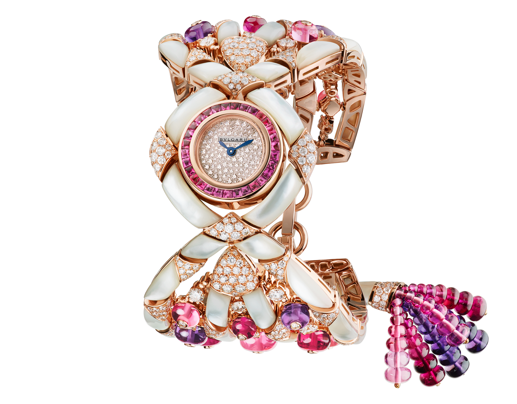 Gemma watch with 18 kt rose gold case set with buff-cut tourmalines, brilliant-cut diamonds and white mother-of-pearl elements, snow pavé dial, 18 kt rose gold bracelet set with tourmaline, amethyst and rubellite beads, brilliant-cut diamonds and white mother-of-pearl elements 102241 image 1