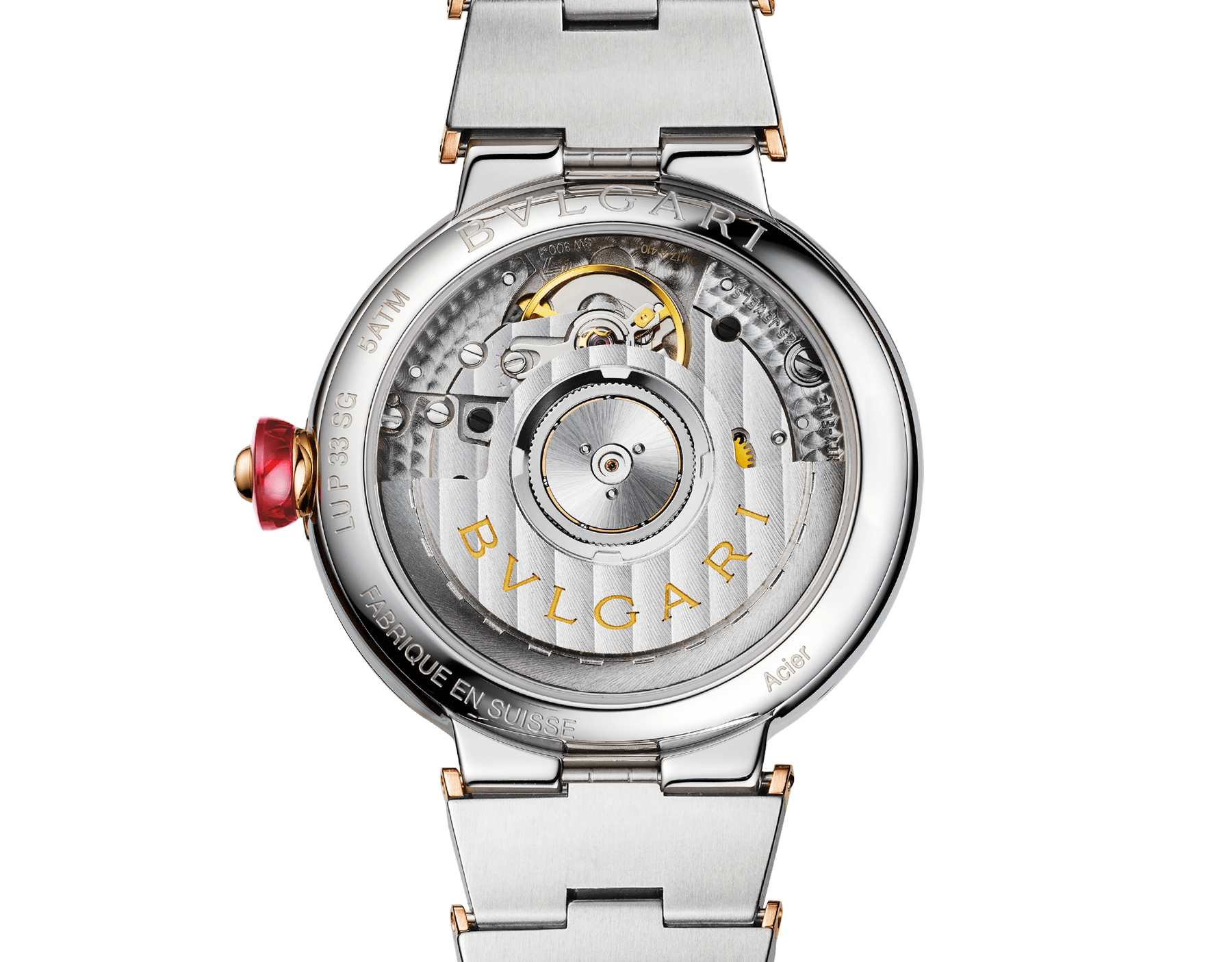 LVCEA watch with stainless steel case, 18 kt rose gold bezel set with brilliant-cut diamonds, green dial, diamond indexes, date opening, stainless steel and 18 kt rose gold bracelet. Exclusive Edition for Middle East 103289 image 4