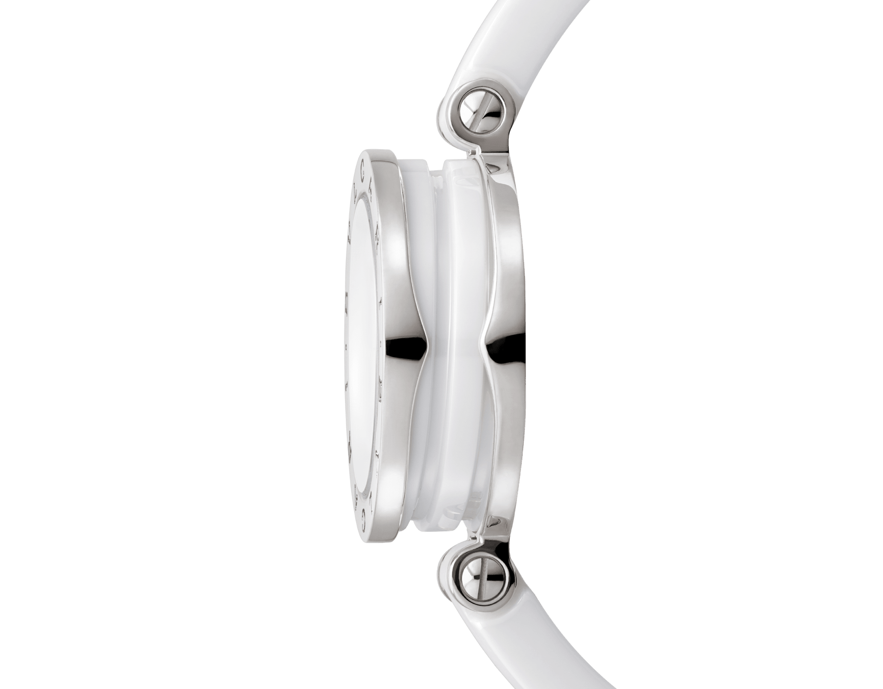 B.zero1 watch with stainless steel and white ceramic case, white lacquered dial and white ceramic bangle with stainless steel clasp. B01watch-white-white-dial image 8