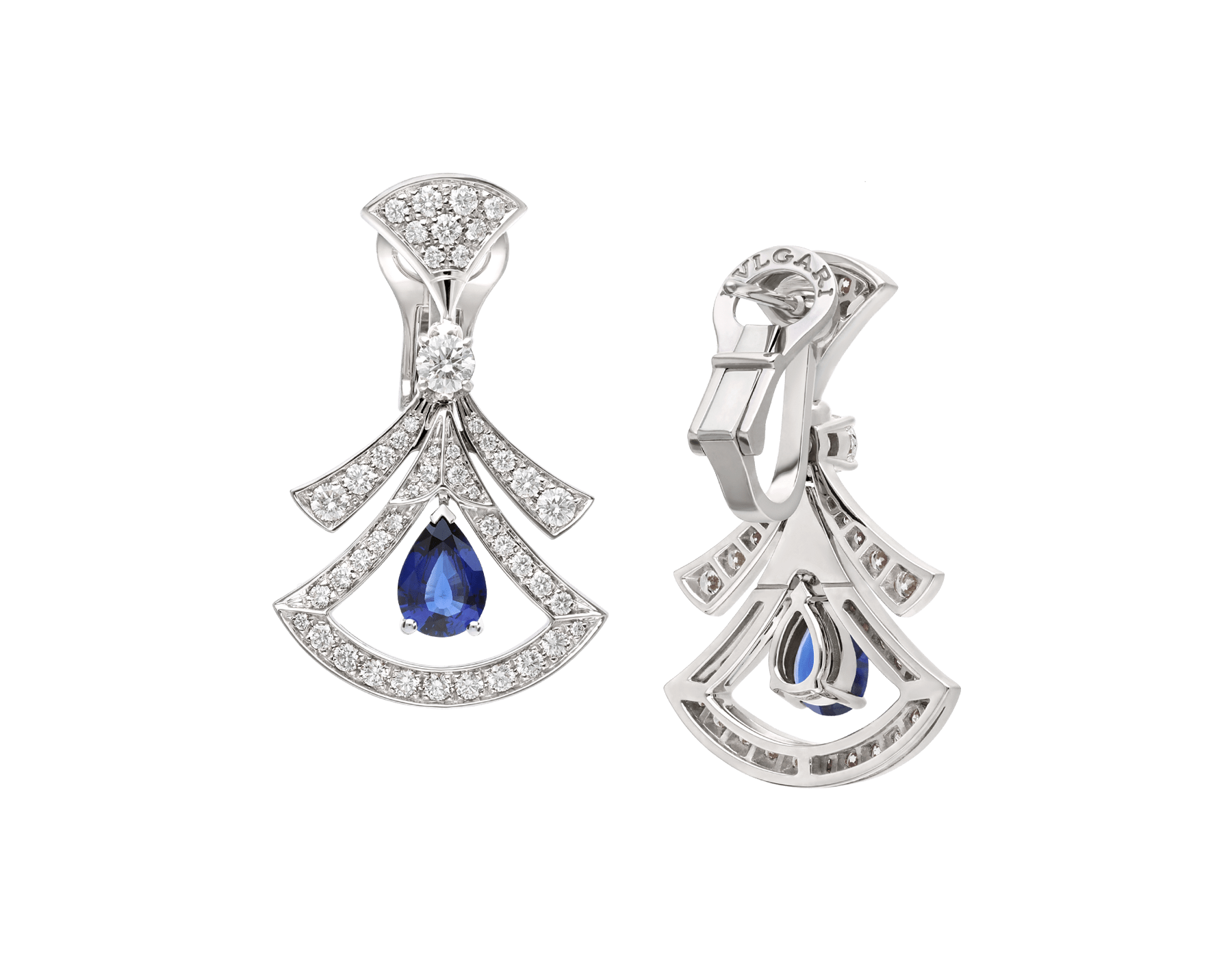 DIVAS' DREAM 18 kt white gold openwork earrings, set with pear-shaped sapphires, round brilliant-cut and pavé diamonds. 357324 image 3