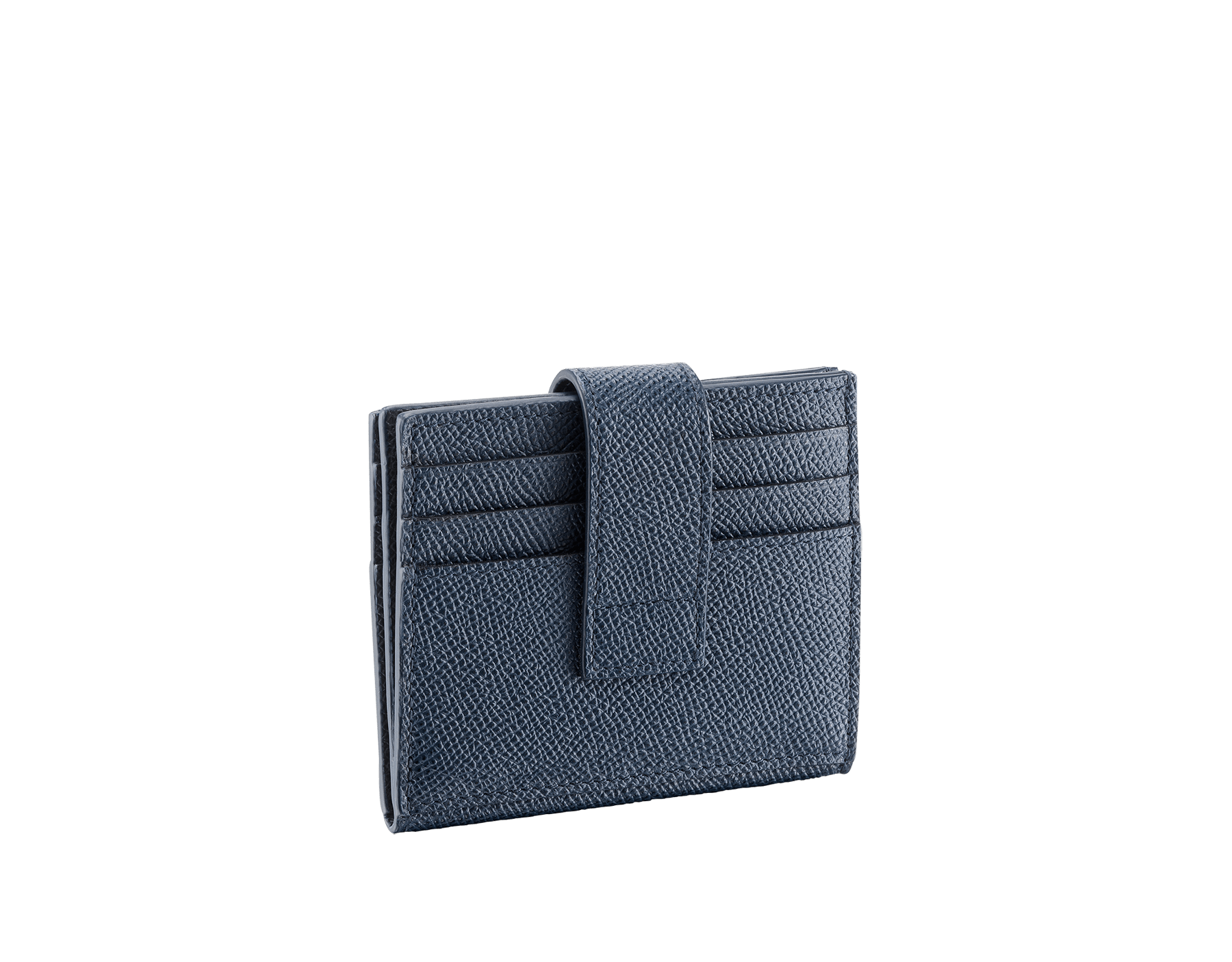 BVLGARI BVLGARI folded credit card holder in denim sapphire and charcoal diamond grain calf leather. Iconic logo décor in palladium plated brass. 289235 image 3