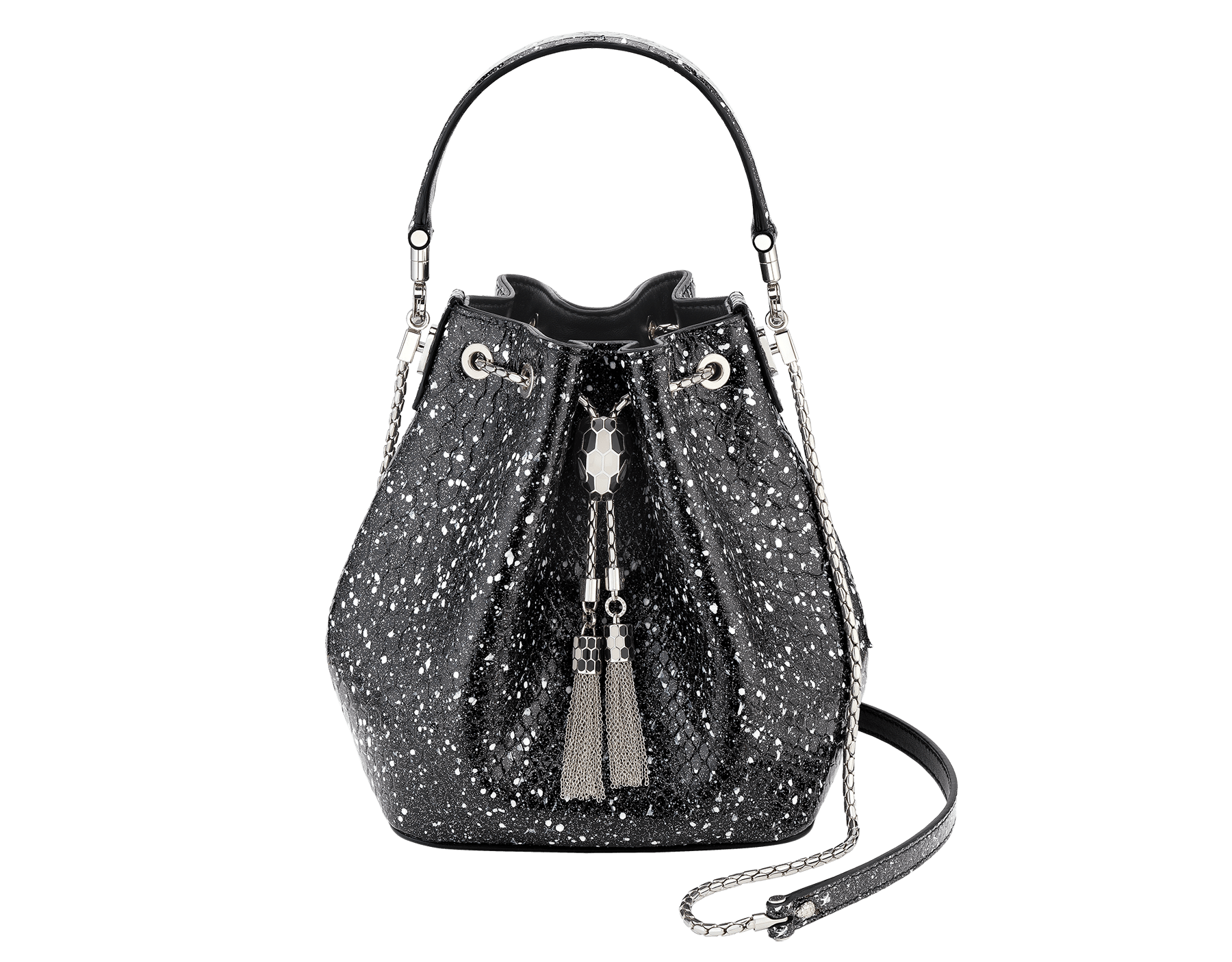 Serpenti Forever bucket bag in black and white Cosmic python skin and black nappa inner lining. Snakehead closure in palladium plated brass decorated with black and white enamel, and black onyx eyes. 288112 image 1