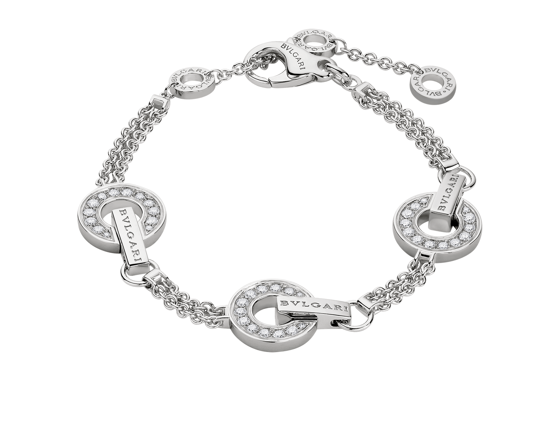 BVLGARI BVLGARI Openwork 18 kt white gold necklace set with full pavé diamonds on the circular elements BR859065 image 1