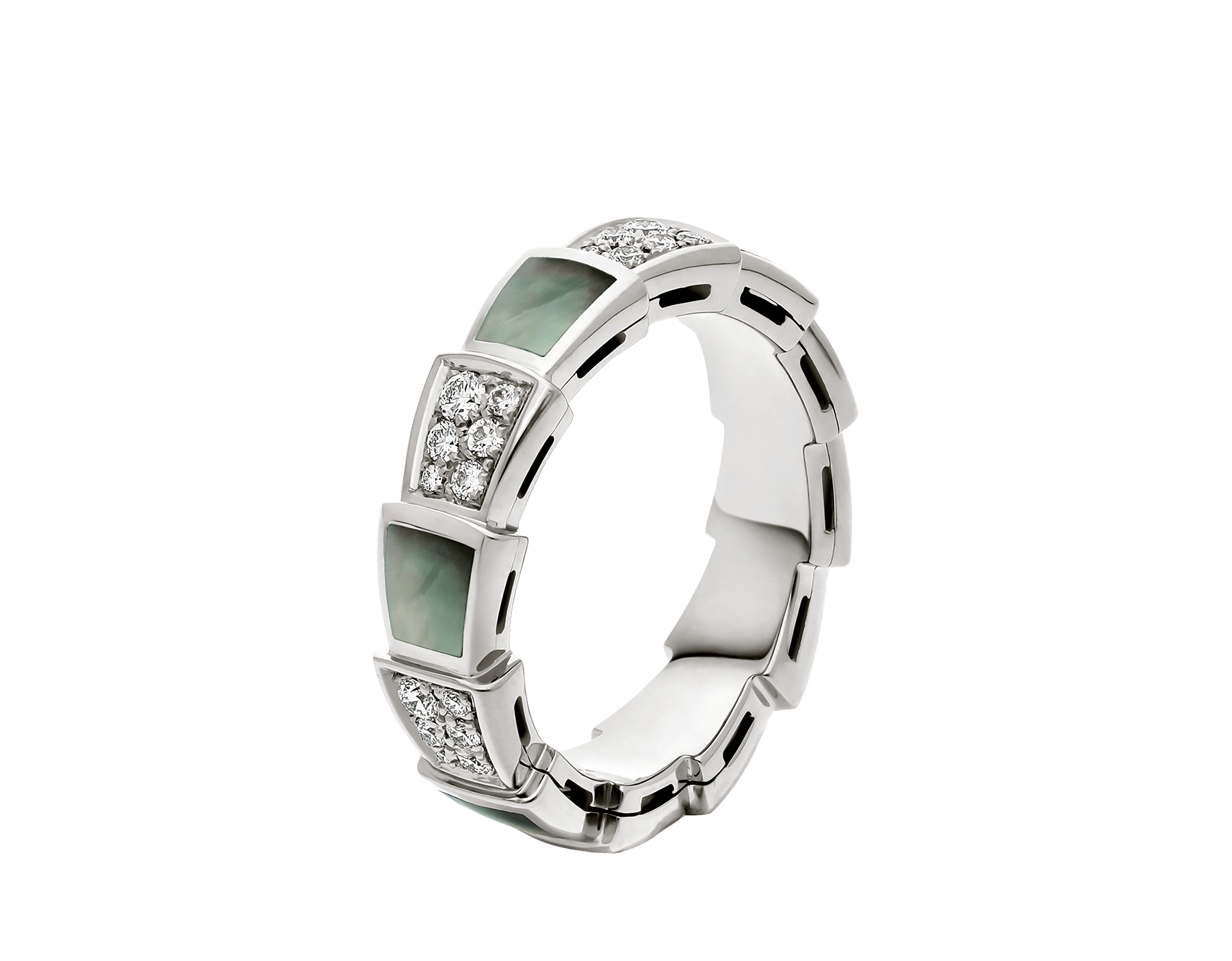 Serpenti Viper band ring in 18 kt white gold set with grey mother-of-pearl elements and pavé diamonds . AN857900 image 1