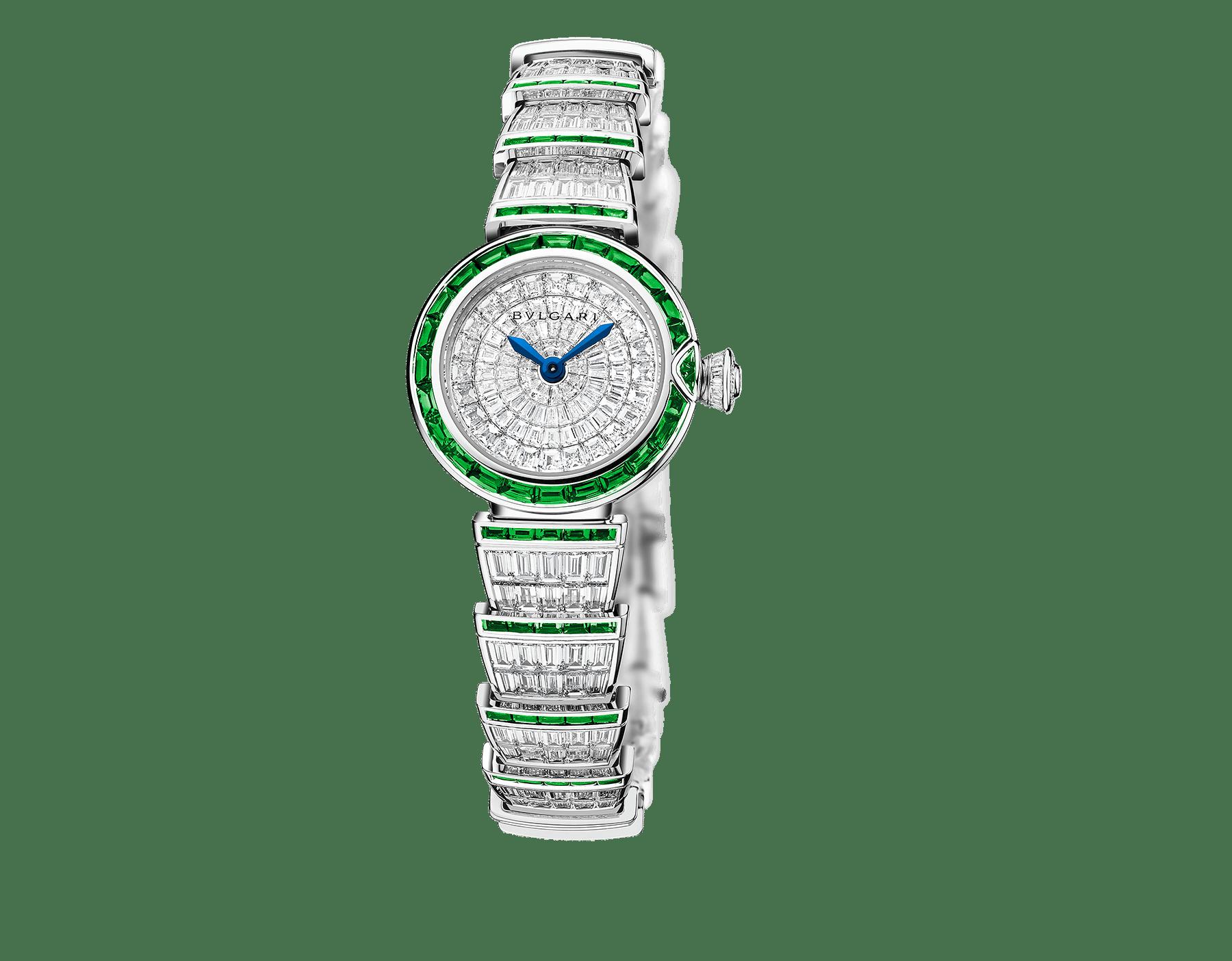 Orologio LVCEA con cassa e bracciale in oro bianco 18 kt con diamanti taglio baguette e smeraldi, quadrante con diamanti. 102466 image 1