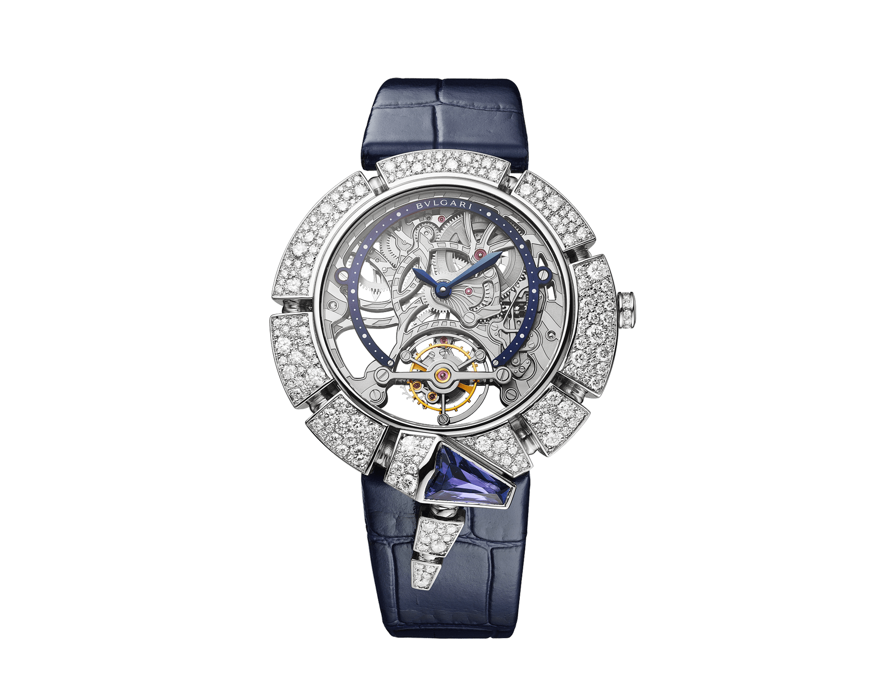 Serpenti Incantati Tourbillon watch with manufacture mechanical skeletonized movement, manual winding, 18 kt white gold case set with brilliant cut diamonds and a tanzanite, transparent dial and blue alligator bracelet. 102723 image 1