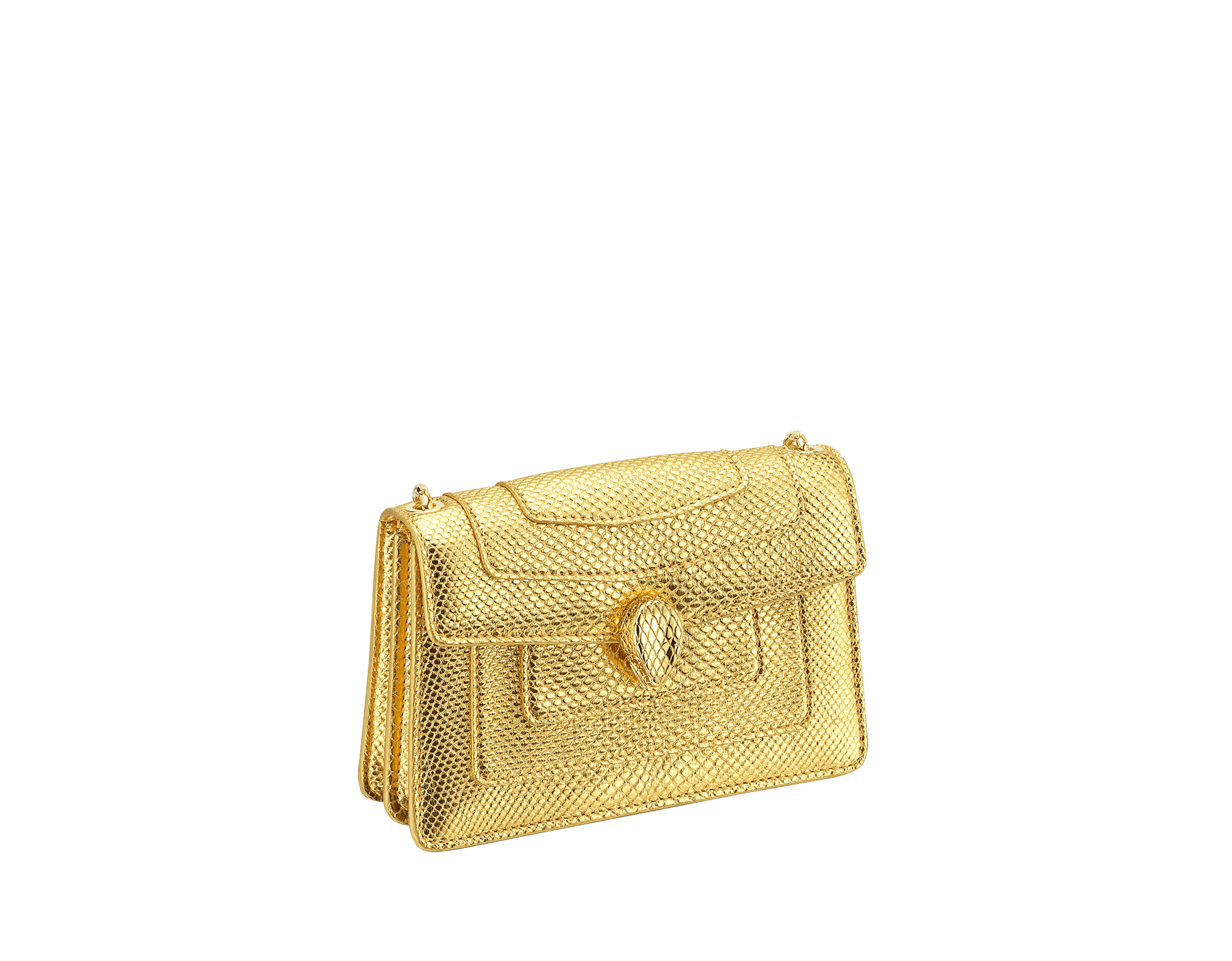 """Serpenti Forever"" mini crossbody bag in ""Molten"" gold karung skin with black nappa leather inner lining, offering a touch of radiance for the Winter Holidays. New Serpenti head closure in gold-plated brass, complete with ruby-red enamel eyes. 290619 image 2"