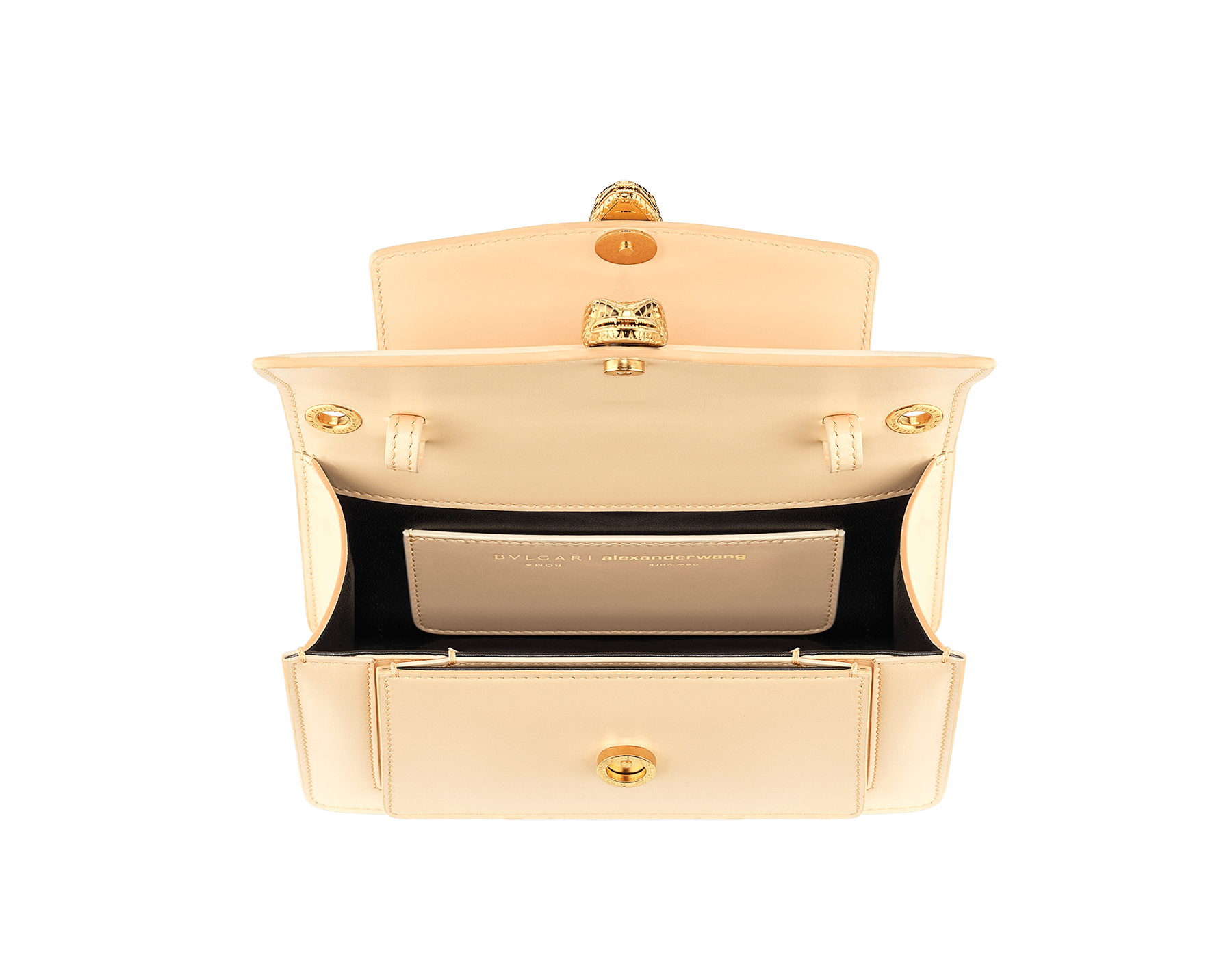 """Alexander Wang x Bvlgari"" belt bag in smooth peach calf leather. New double Serpenti head closure in antique gold plated brass with tempting red enamel eyes. Limited edition. 290308 image 5"