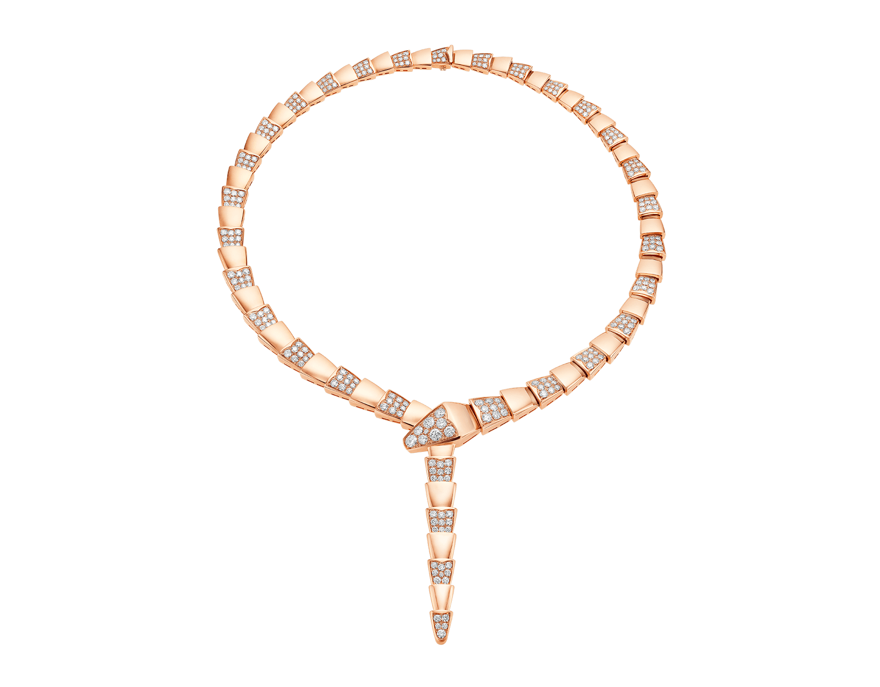 Serpenti necklace in 18 kt rose gold, set with demi pavé diamonds. 348166 image 1