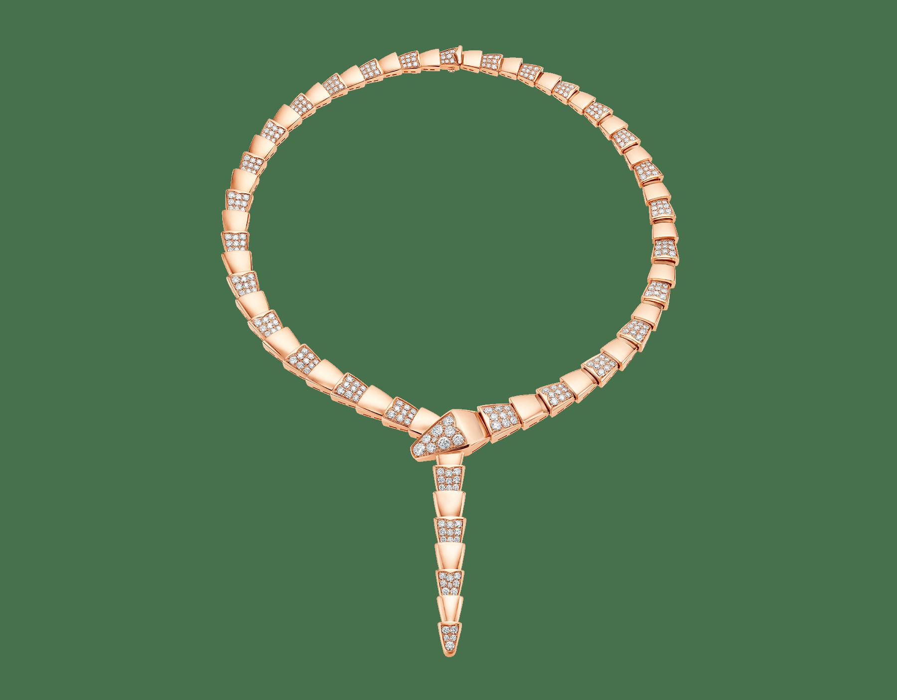 Colar Serpenti em ouro rosa 18K semicravejado com pavê de diamantes. 348166 image 1