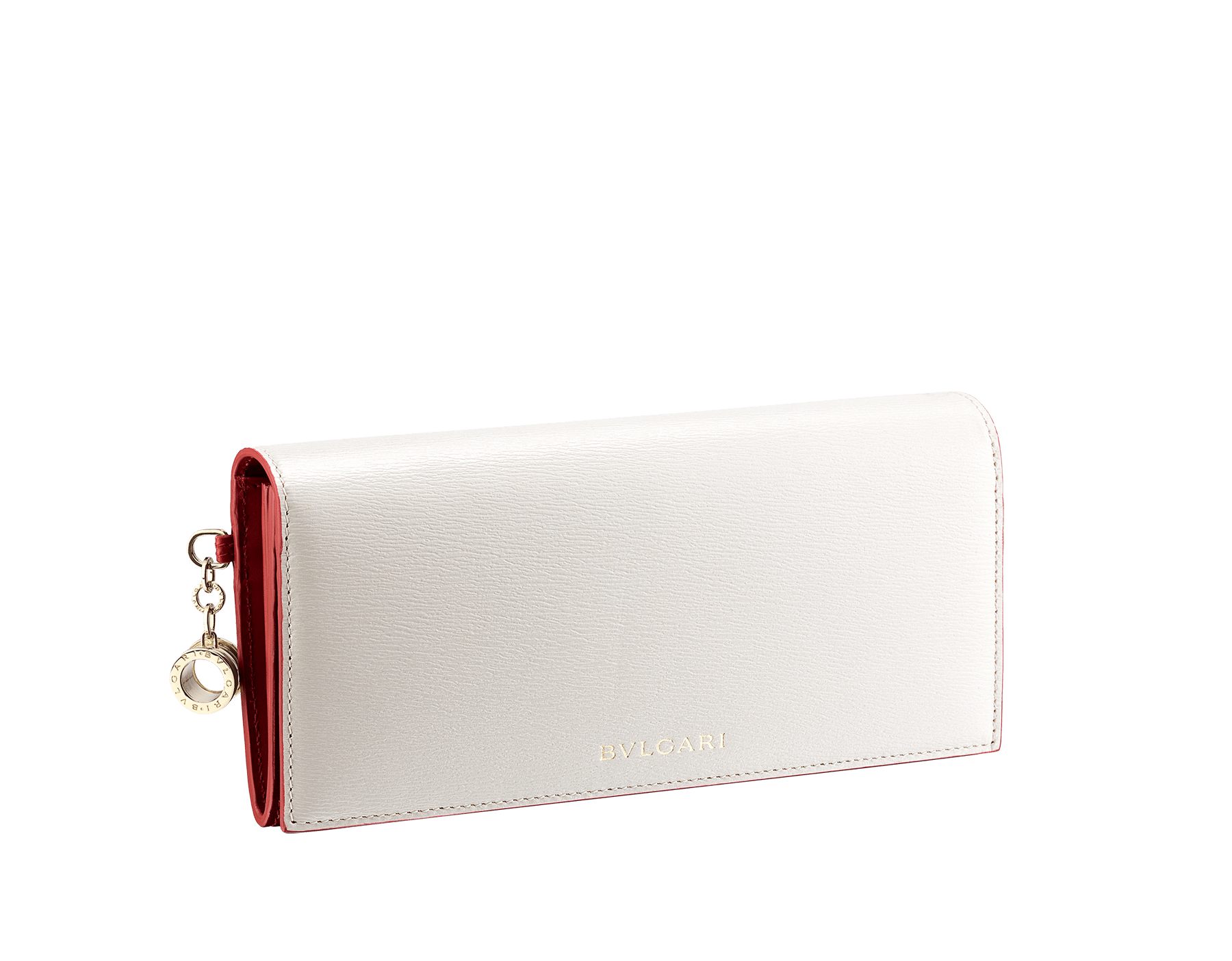 B.zero1 pochette wallet in daisy topaz and taffy quartz goatskin. Iconic B.zero1 charm in light gold plated brass and a clip closure. BZA-WLT-SLI-POC-CL image 1