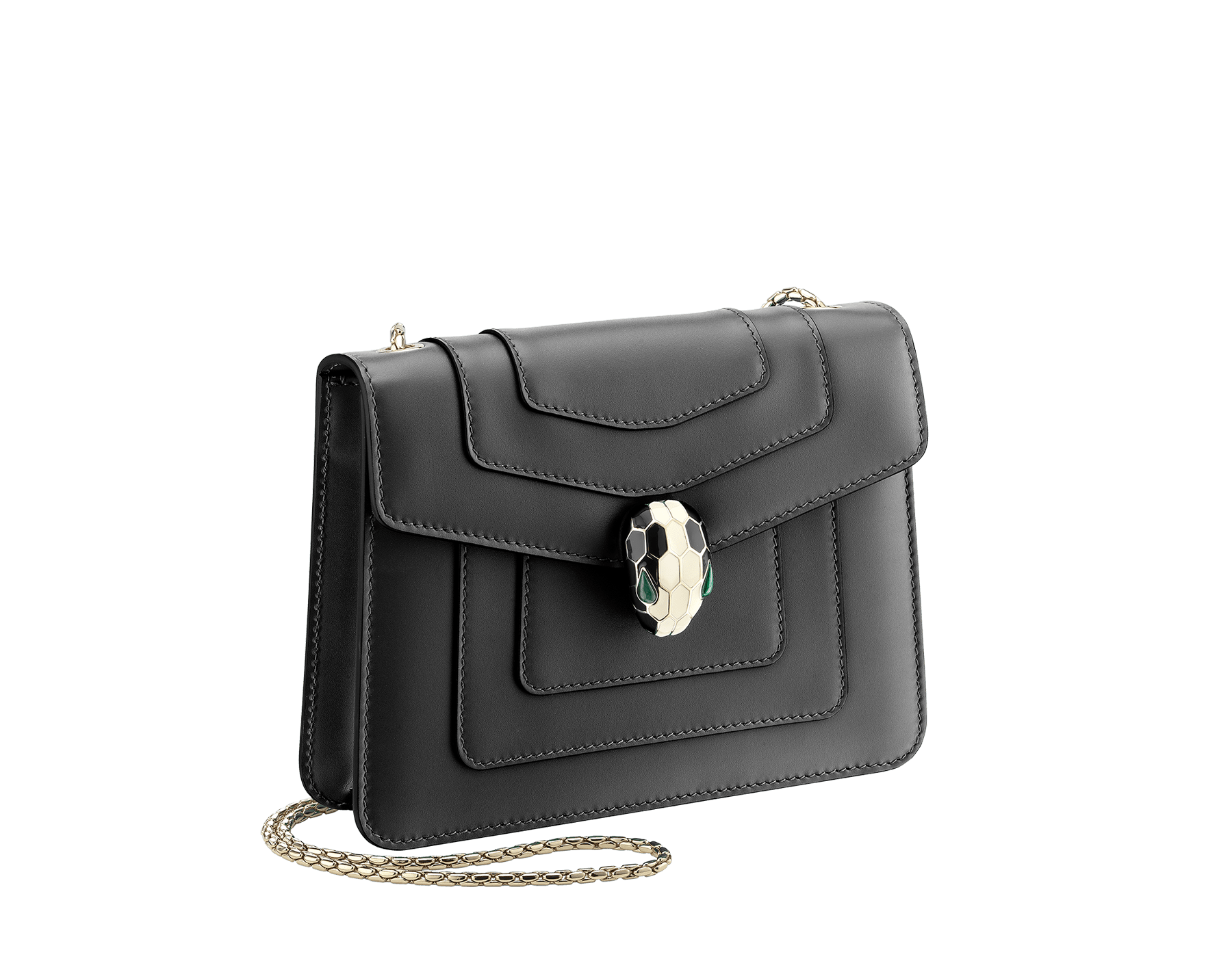 """Serpenti Forever"" crossbody bag in emerald green calf leather with amethyst purple gros grain internal lining. Iconic snakehead closure in light gold plated brass enriched with black and white agate enamel, and green malachite eyes. 422-CLa image 2"