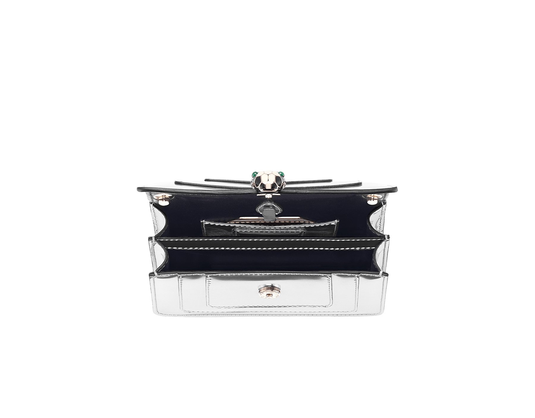 Serpenti Forever mini crossbody bag in silver brushed metallic calf leather. Brass light gold plated snake head closure in black and white enamel, with green malachite eyes. 288051 image 4
