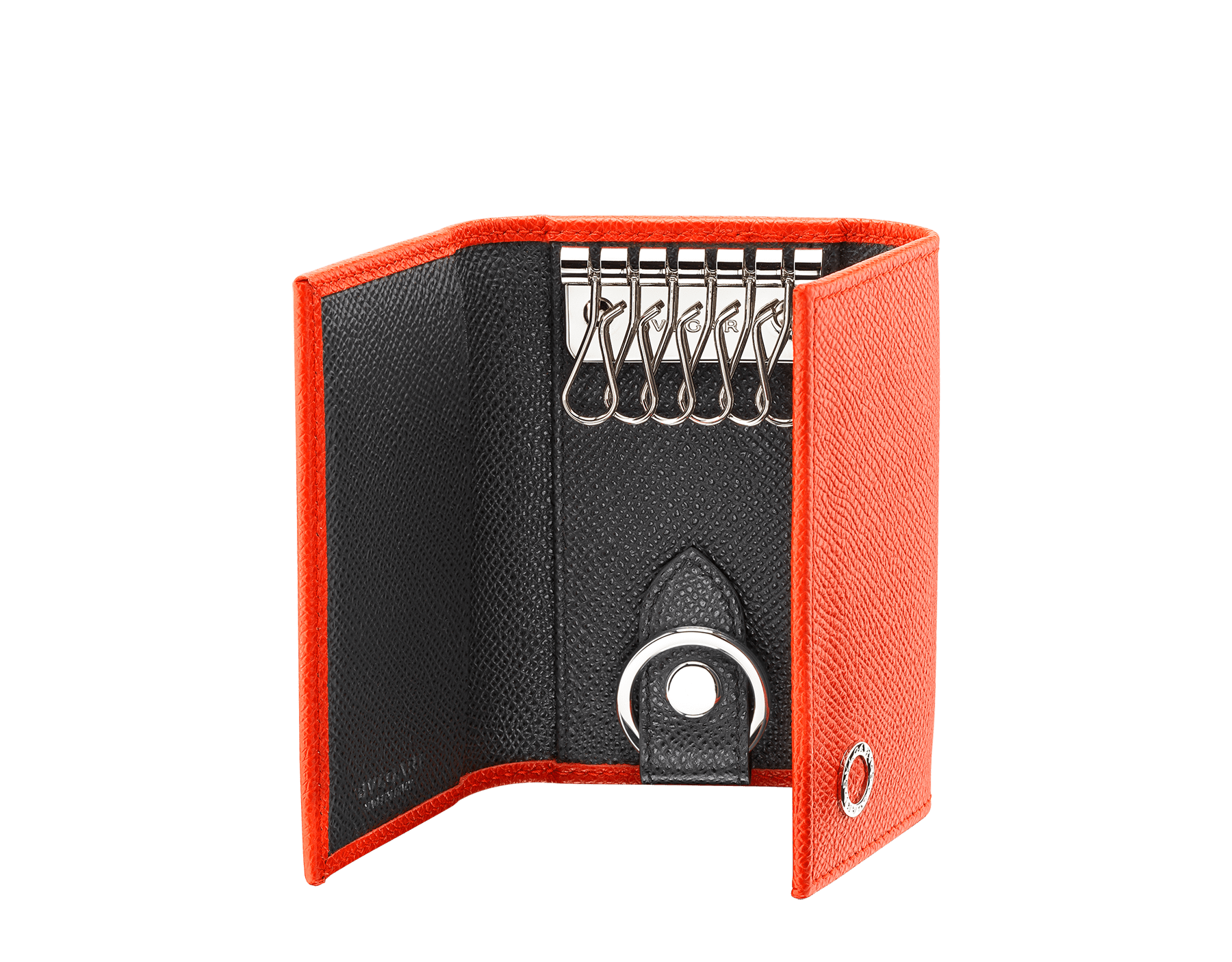 BVLGARI BVLGARI double keyholder in fire amber and charcoal diamond grain calf leather. Detachable car keyholder in palladium plated brass. 289134 image 2
