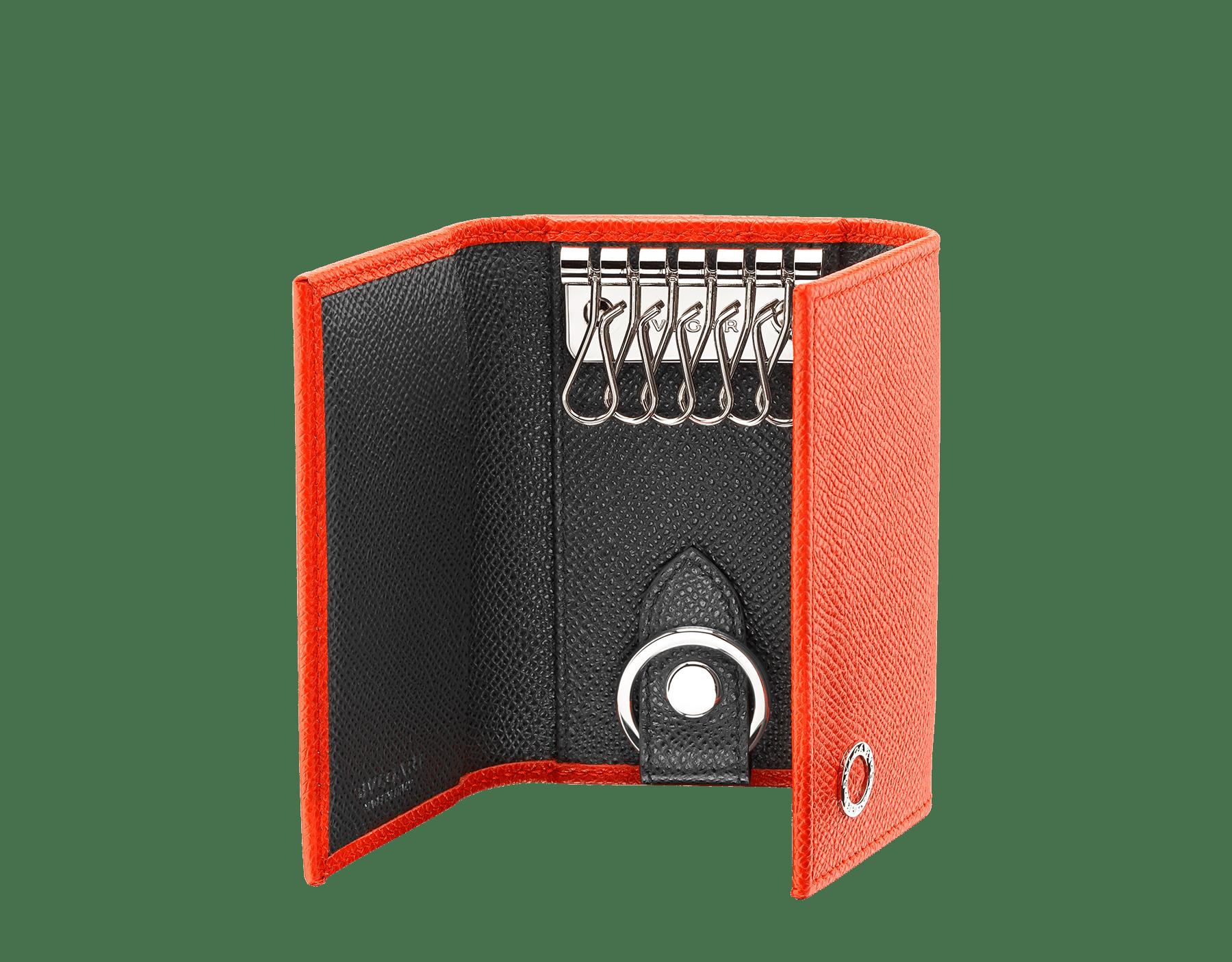 Double porte-clés BVLGARI BVLGARI en cuir de veau grainé couleur Fire Amber et Charcoal Diamond. Porte-clés de voiture amovible en laiton. 289134 image 2