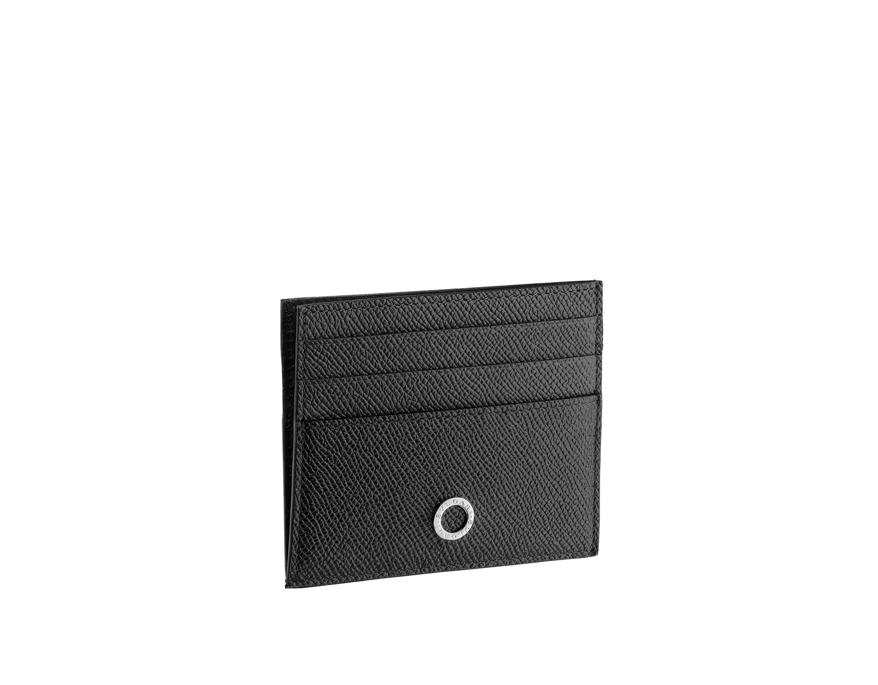BVLGARI BVLGARI open credit card holder in black grain calf leather and black nappa lining. Iconic logo décor in palladium plated brass. 288524 image 1