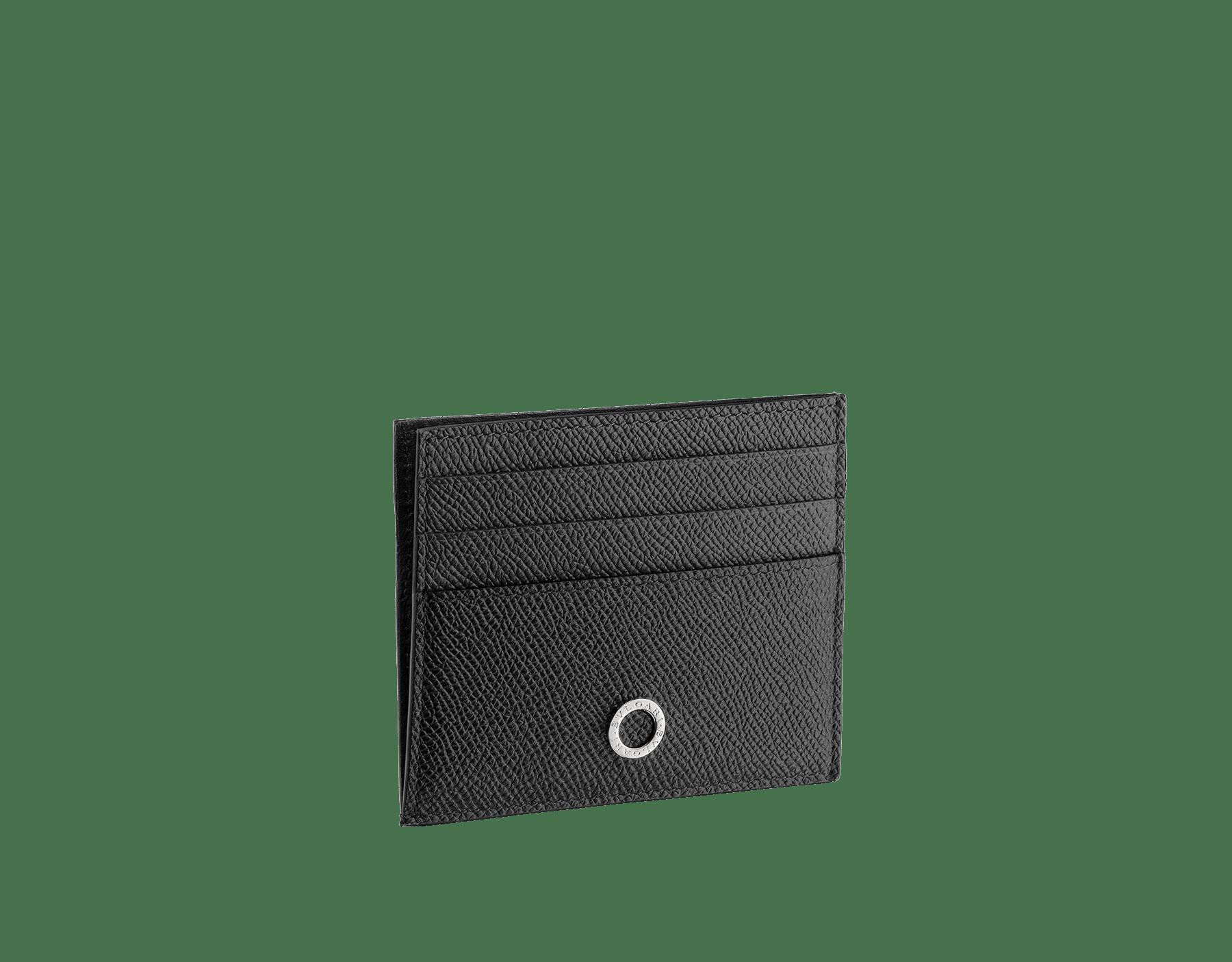 Étui pour cartes de crédit ouvert BVLGARI BVLGARI en cuir de veau grainé noir avec doublure en nappa noir. Emblématique logo Bvlgari en laiton plaqué palladium. 288524 image 1