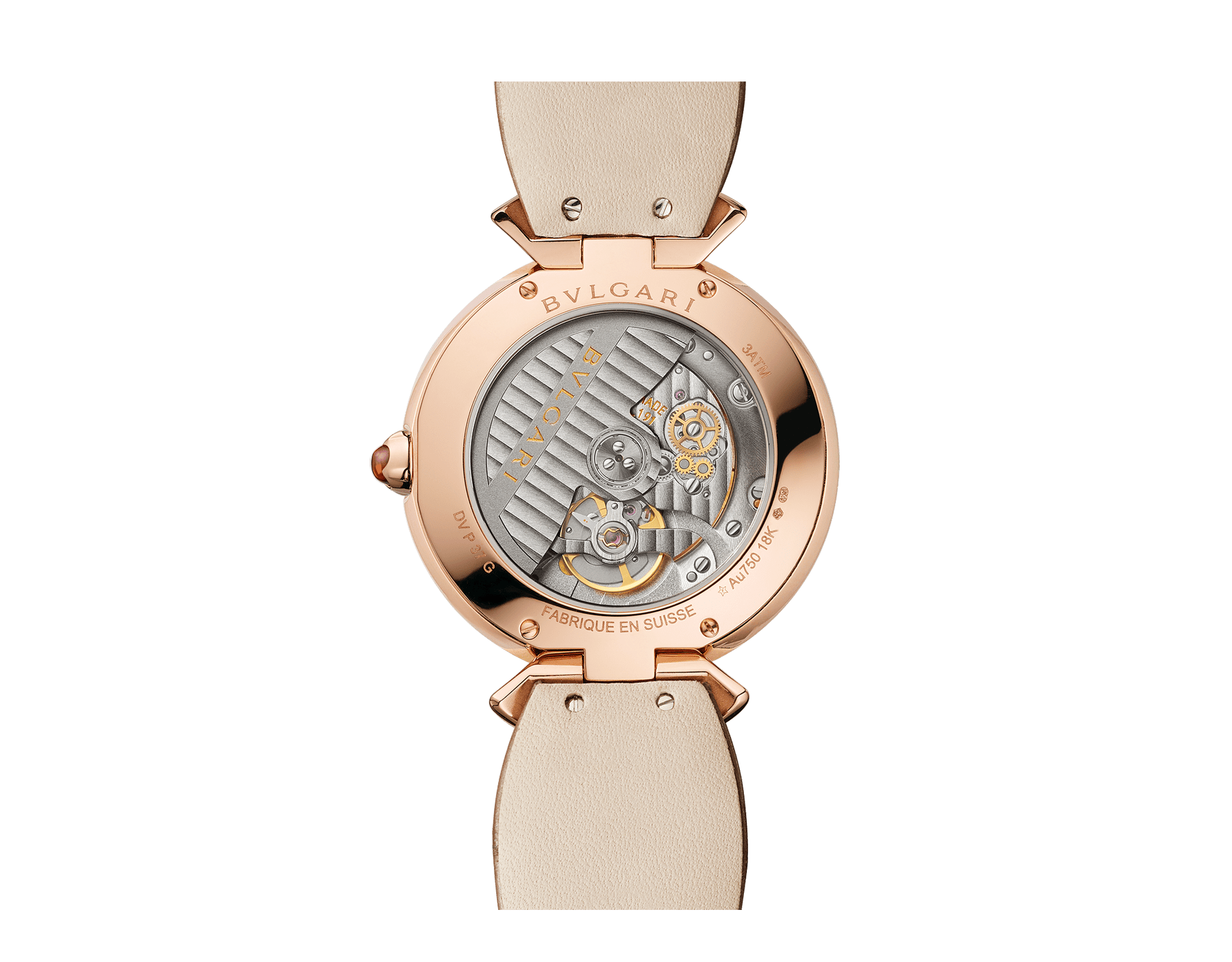DIVAS' DREAM watch with in-house manufacture mechanical movement, automatic winding, 18 kt rose gold case, 18 kt rose gold bezel and fan-shaped links both set with brilliant-cut diamonds, natural peacock feather dial and shiny beige alligator strap 103139 image 4