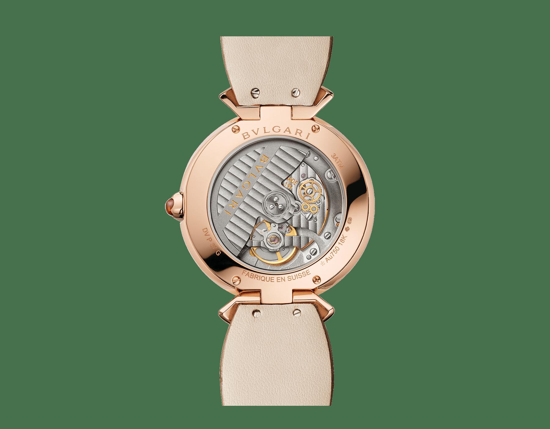 Часы DIVAS' DREAM, мануфактурный механизм с автоматическим заводом, корпус из розового золота 18 карат, безель и крепления в форме веера из розового золота 18 карат с бриллиантами классической огранки, циферблат с настоящим пером павлина, ремешок из блестящей кожи аллигатора бежевого цвета 103139 image 4