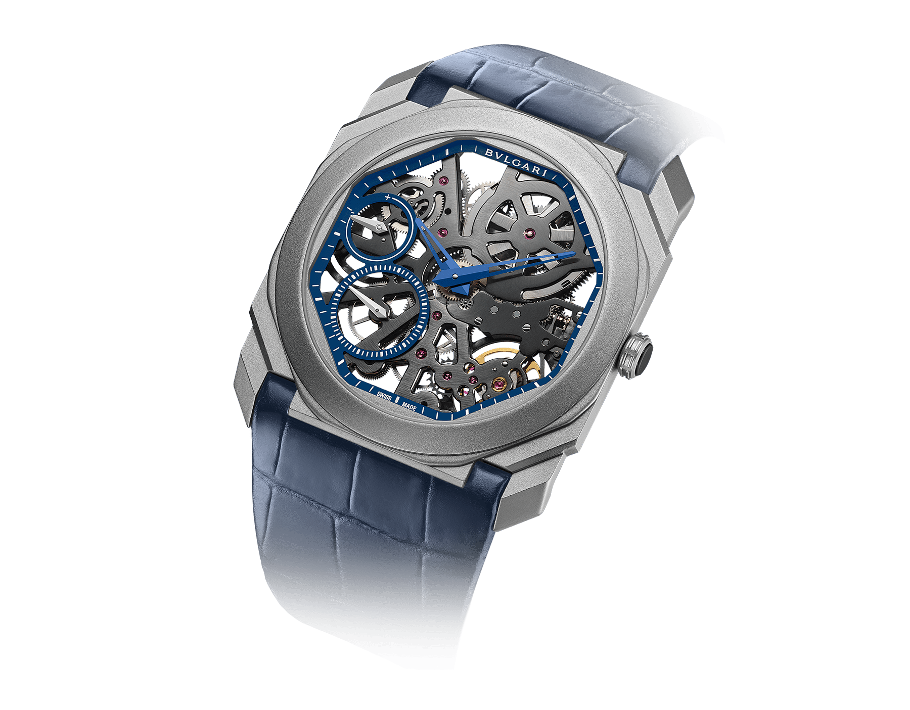 Octo Finissimo Skeleton Limited Edition watch with extra-thin mechanical manufacture movement (2.23mm thick), manual winding, small seconds, power reserve indication, sandblasted titanium case, skeletonized blue dial, blue hands and blue alligator bracelet 102941 image 2