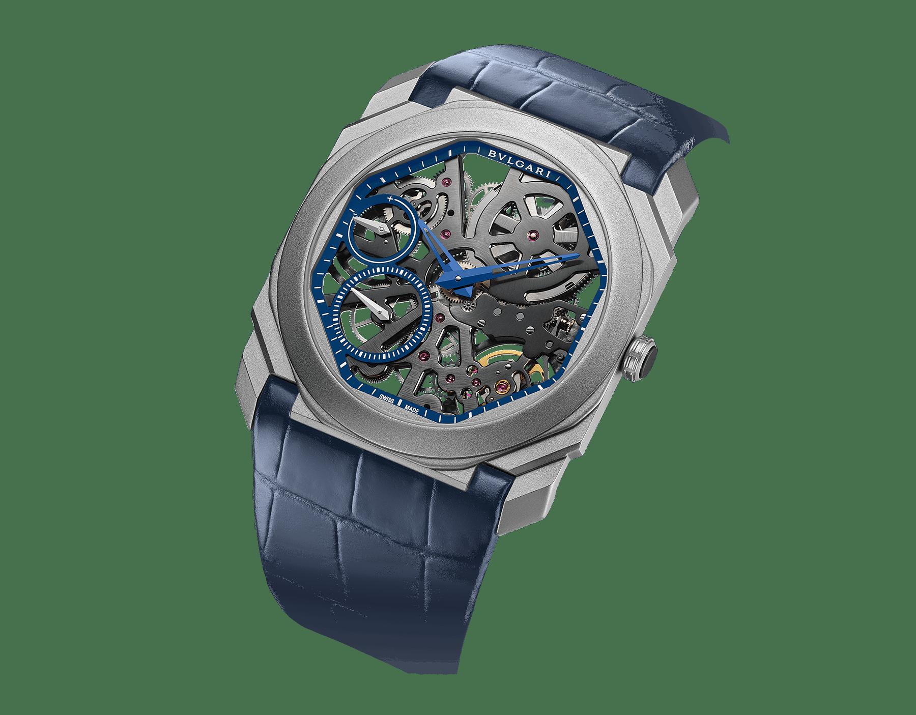 Relógio Octo Finissimo Skeleton Edição Limitada com movimento de manufatura mecânico extrafino (2,23mm de espessura), corda manual, pequenos segundos, indicação de reserva de marcha, caixa em titânio jateado, mostrador esqueletizado azul, ponteiros azuis e pulseira em couro de jacaré azul 102941 image 2