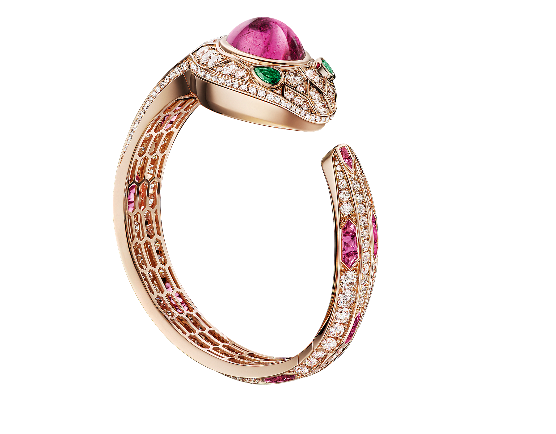 Serpenti Seduttori watch with 18 kt rose gold case and dial, 18 kt rose gold head set with brilliant cut diamonds, one cabochon cut tourmaline and emerald eyes, 18 kt rose gold bracelet set with brilliant cut diamonds and tourmalines. 102616 image 1