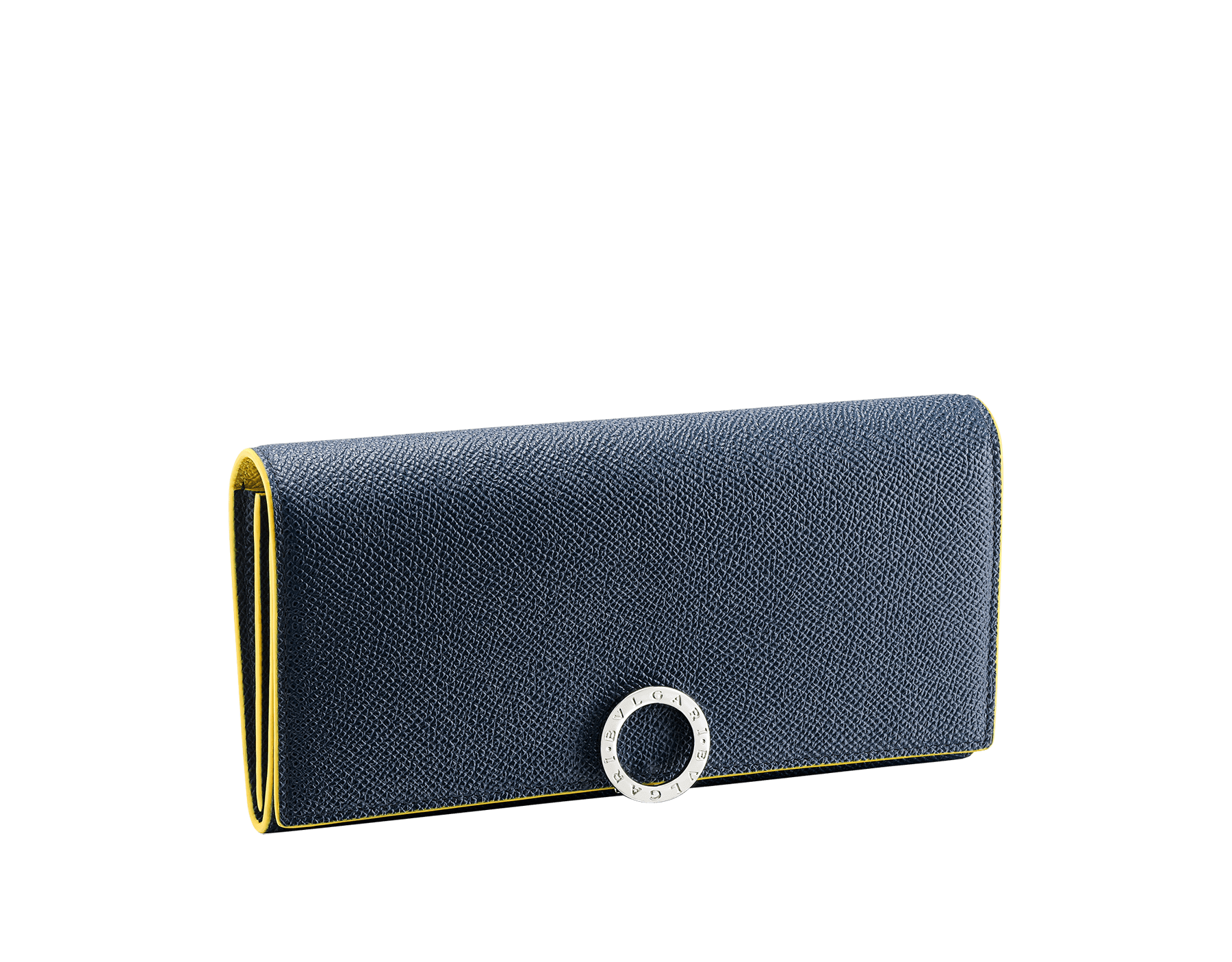 """""""BVLGARI BVLGARI"""" large wallet in mimetic jade and fire amber grain calf leather. Iconic logo closure clip in ruthenium plated brass. BCM-WLT-SLI-POC-CLb image 1"""