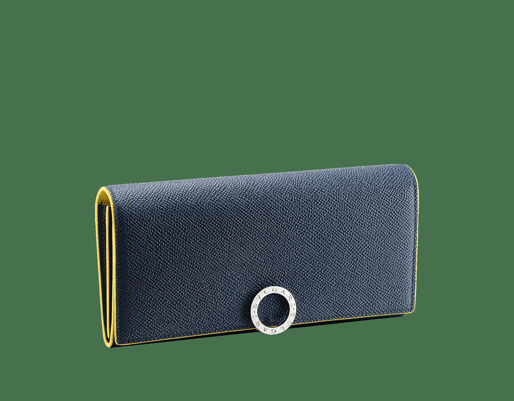 BVLGARI BVLGARI 大型皮夾,採用綠玉色和火珀色珠面小牛皮。經典鍍釕黃銅品牌標誌扣環。 BCM-WLT-SLI-POC-CLb image 1