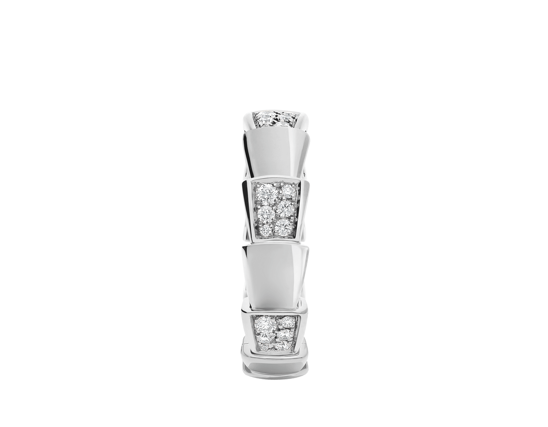 Serpenti Viper band ring in 18 kt white gold set with demi pavé diamonds (0.43 ct). AN857931 image 2