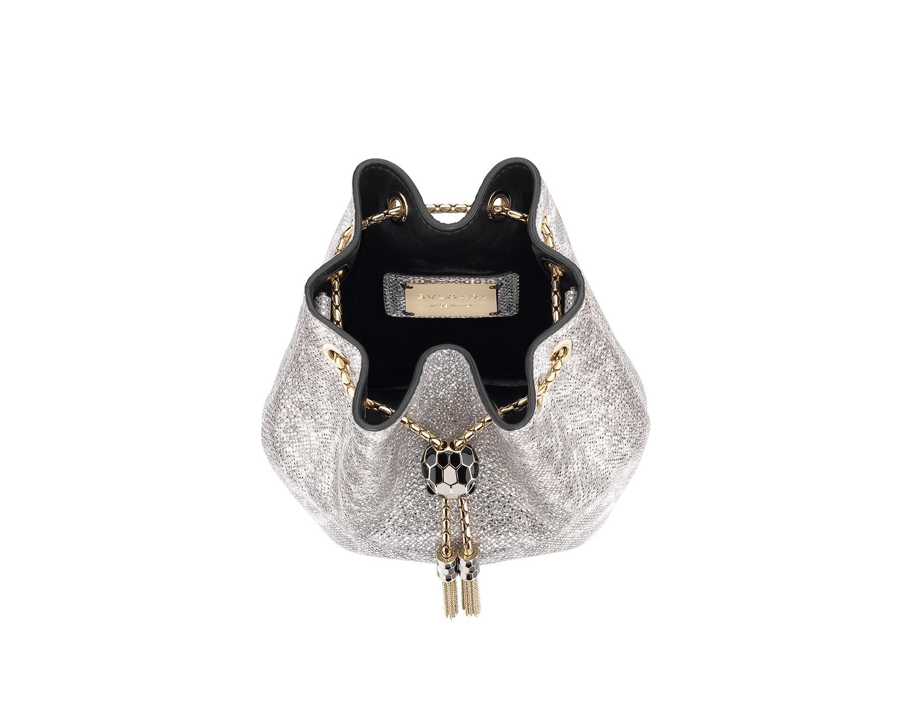 """Serpenti Forever"" micro bucket in white agate metallic karung skin and black nappa internal lining. Hardware in light gold plated brass and snakehead closure in black and white agate enamel, with eyes in black onyx. 289952 image 2"