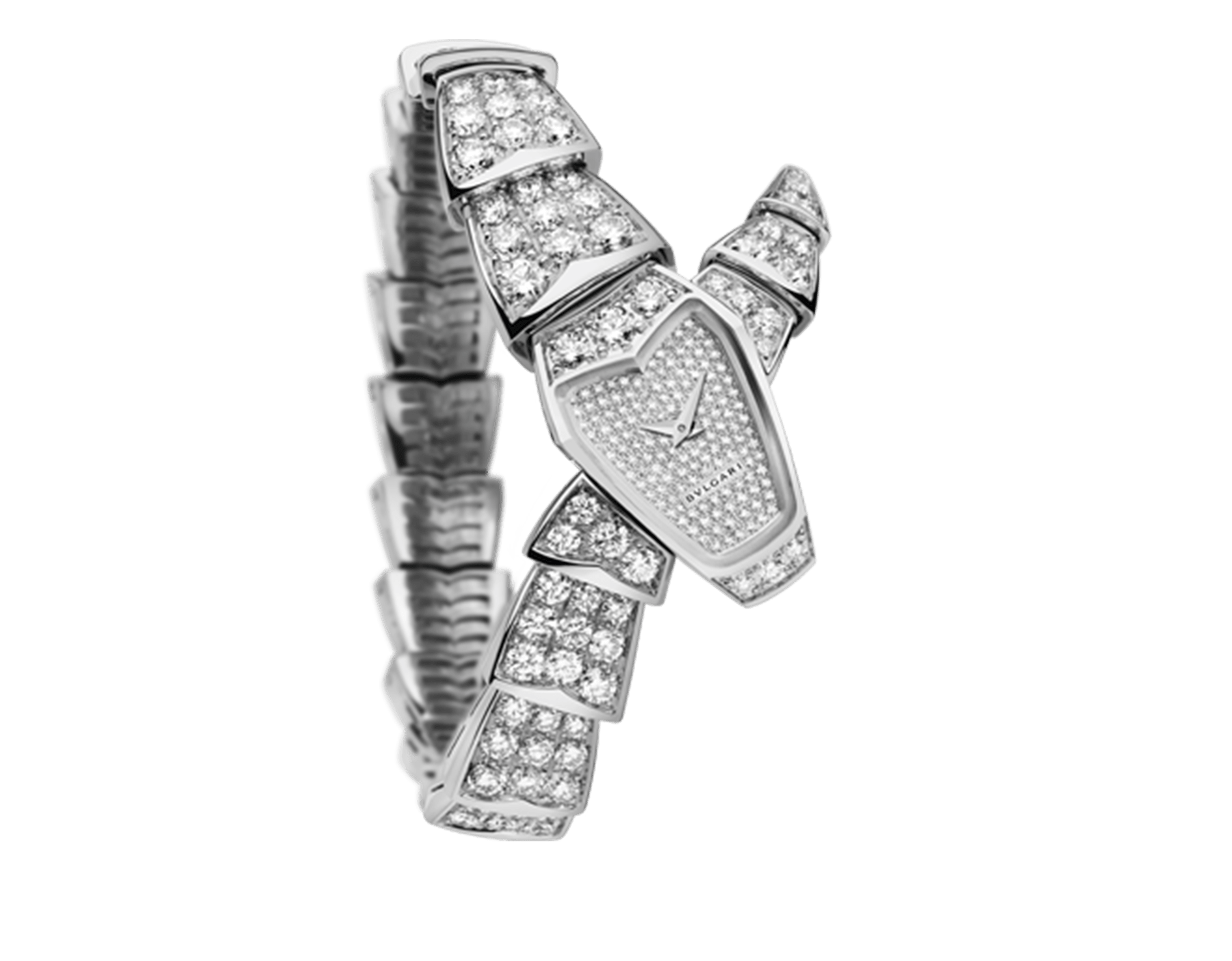 Serpenti Jewellery Watch in 18 kt white gold case and single spiral bracelet, both set with brilliant cut diamonds, and snow-set pavé diamond dial. 102367 image 1