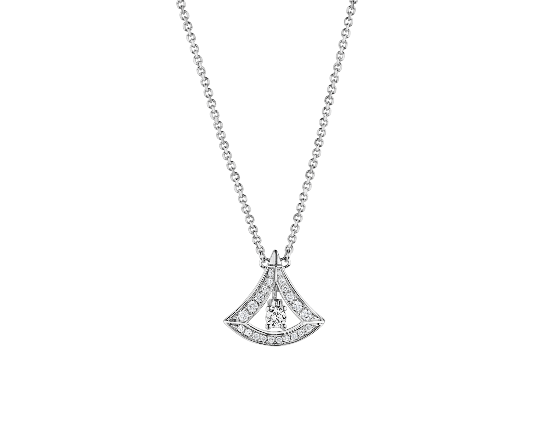 DIVAS' DREAM openwork necklace in 18 kt white gold with 18 kt white gold pendant set with a central diamond and pavé diamonds. 354049 image 1