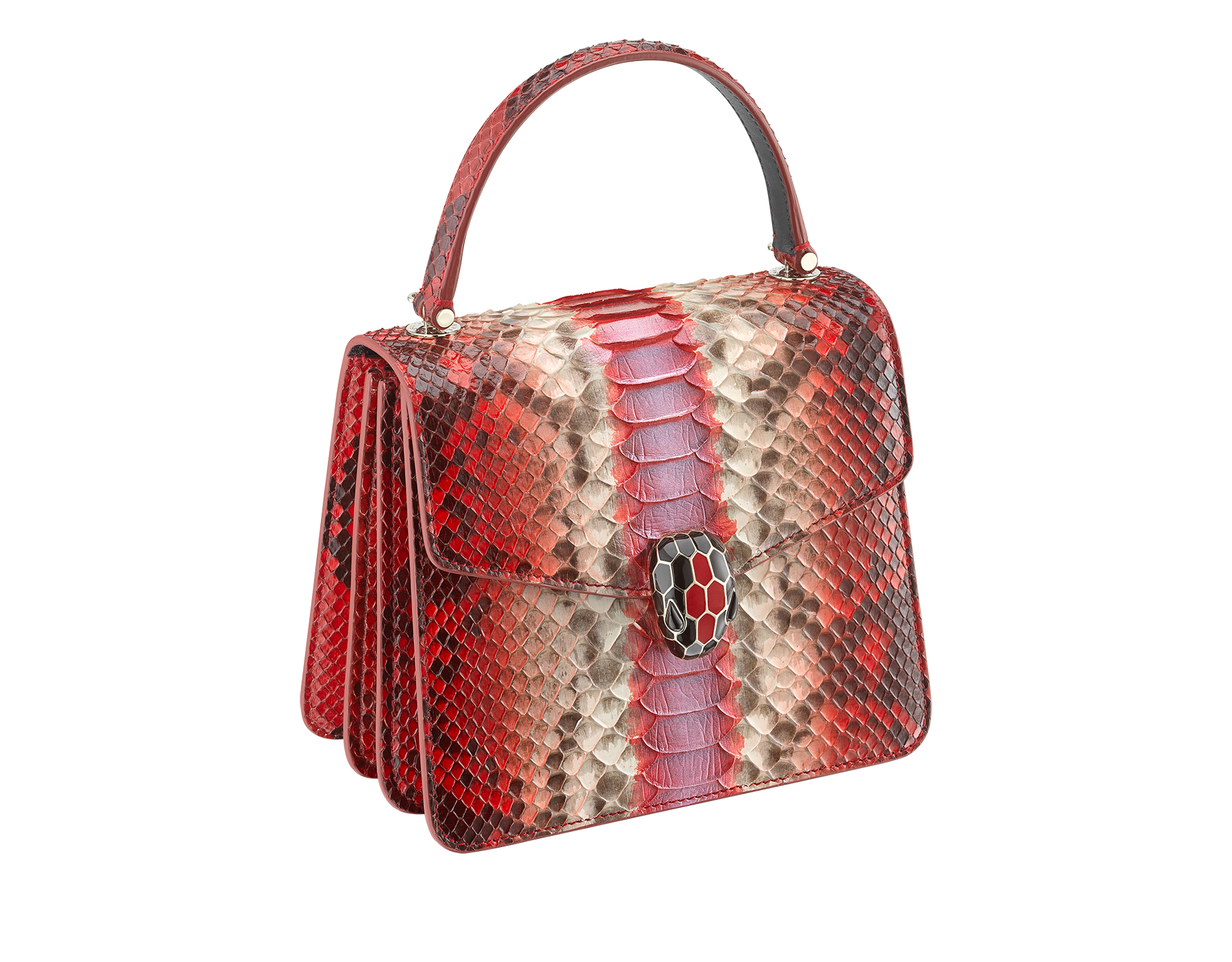 """Serpenti Forever "" crossbody bag in carmine jasper Eclectic"" python skin. Iconic snakehead closure in light gold plated brass enriched with black and carmine jasper enamel and black onyx eyes. 288874 image 2"