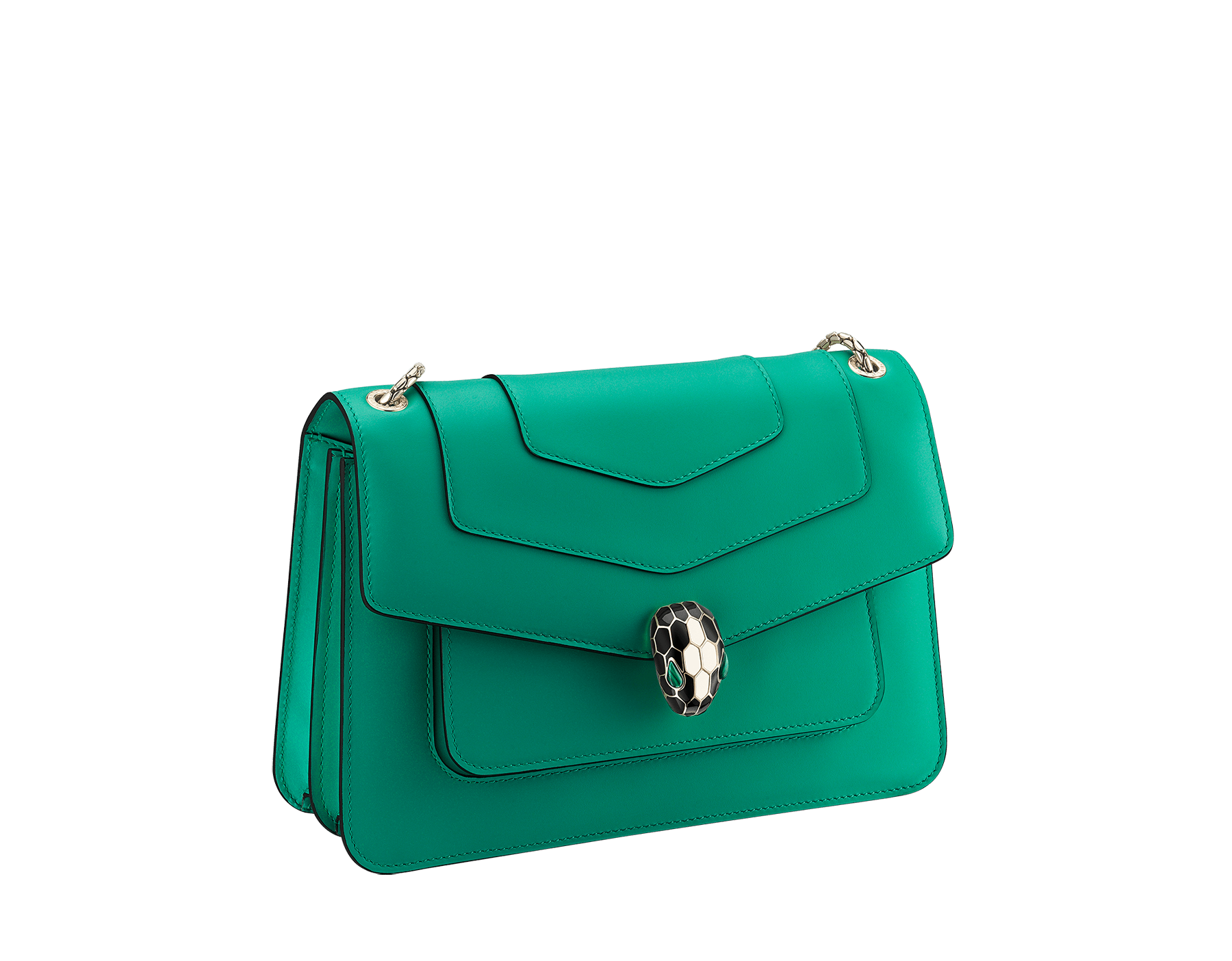 """Serpenti Forever"" shoulder bag in black calf leather. Iconic snakehead closure in light gold-plated brass enhanced with black and white agate enamel and green malachite eyes. 1077-CL image 2"