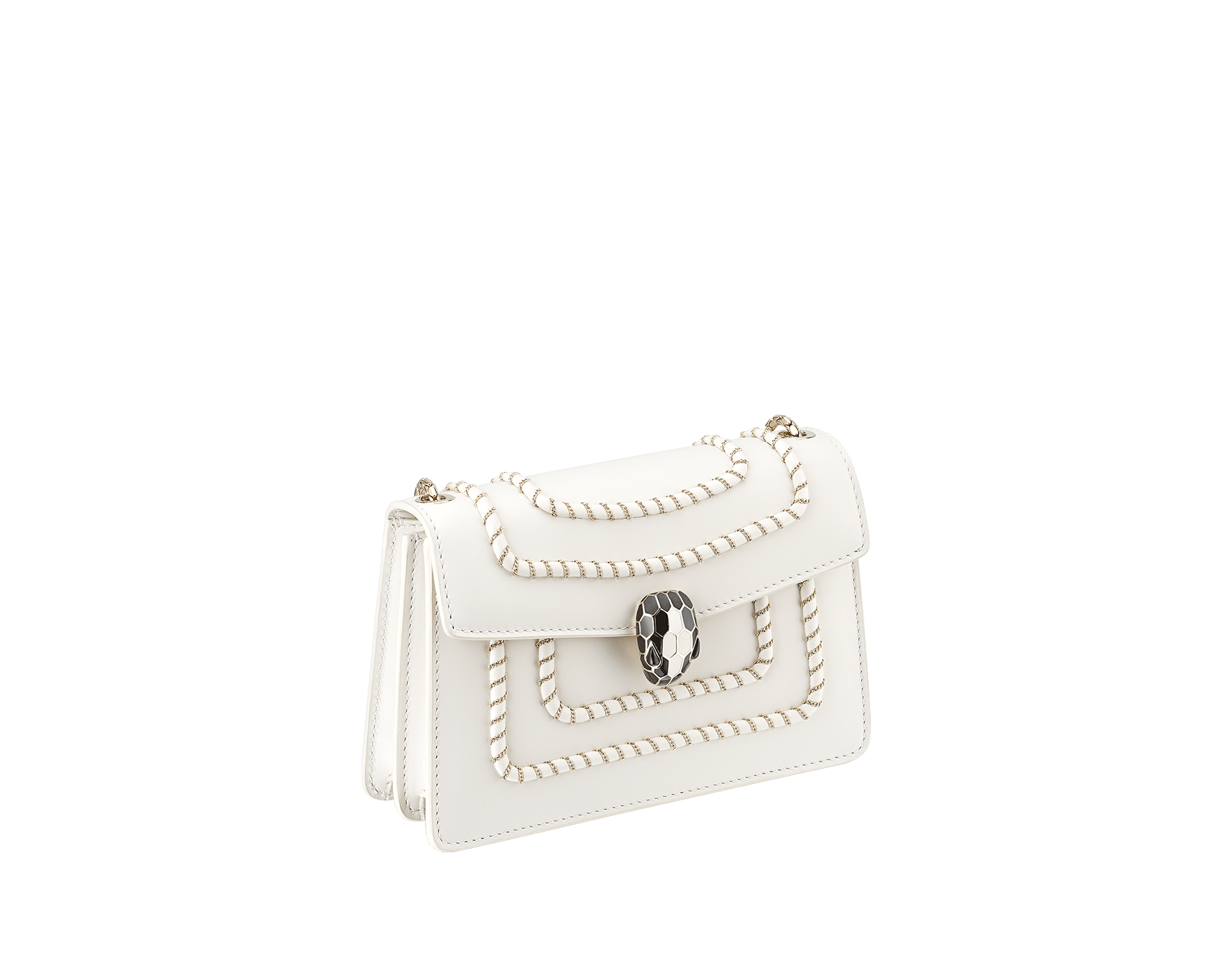 Serpenti Forever mini crossbody bag in white agate calf leather with woven chain décor. Brass light gold-plated snake head closure in black and white enamel, with black onyx eyes. 288045 image 2