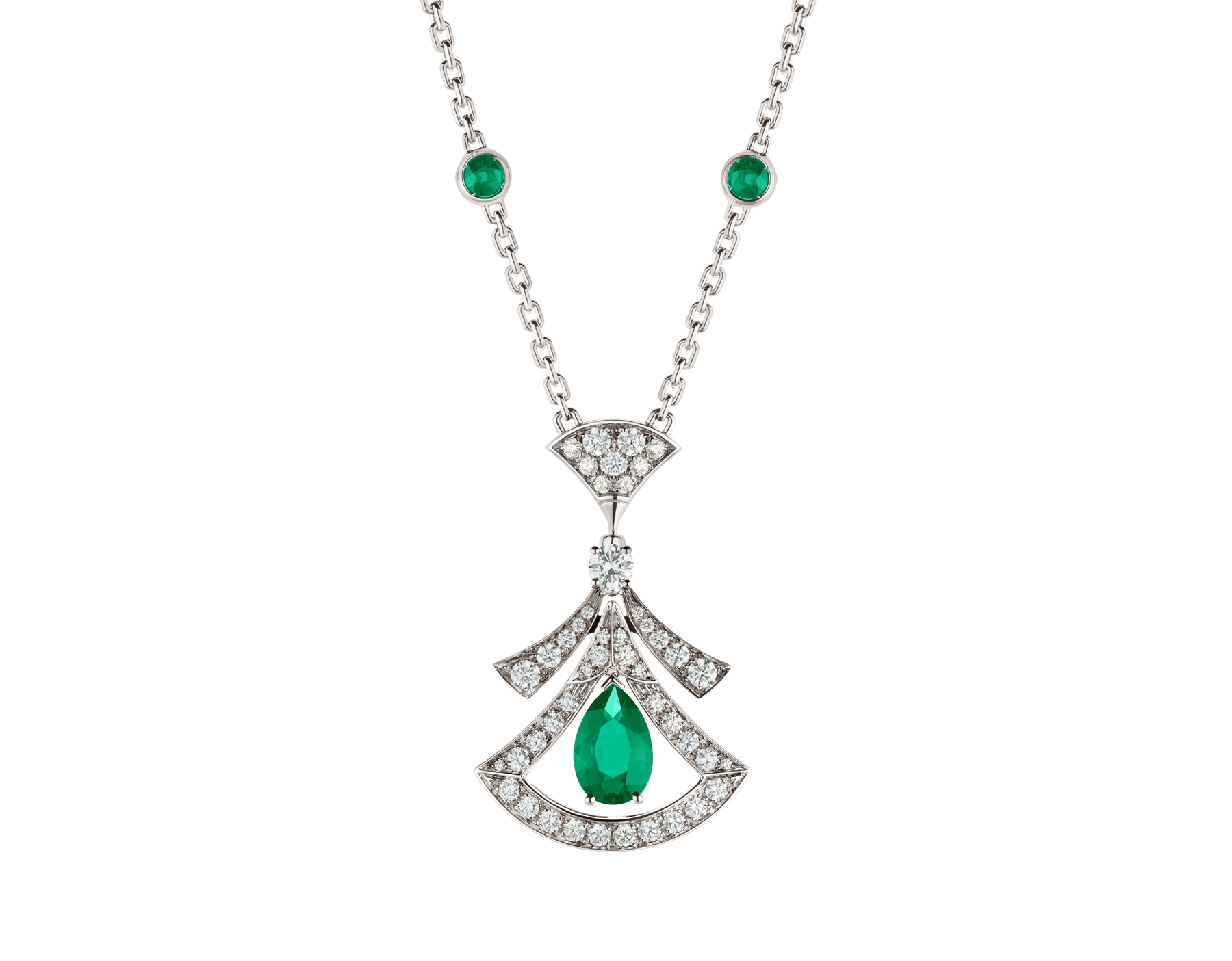 Collier ajouré DIVAS' DREAM en or blanc 18 K serti d'une émeraude taille poire (1,17 ct), émeraudes rondes taille brillant (0,60 ct), un diamant rond taille brillant et pavé diamants (0,86 ct) 356955 image 1