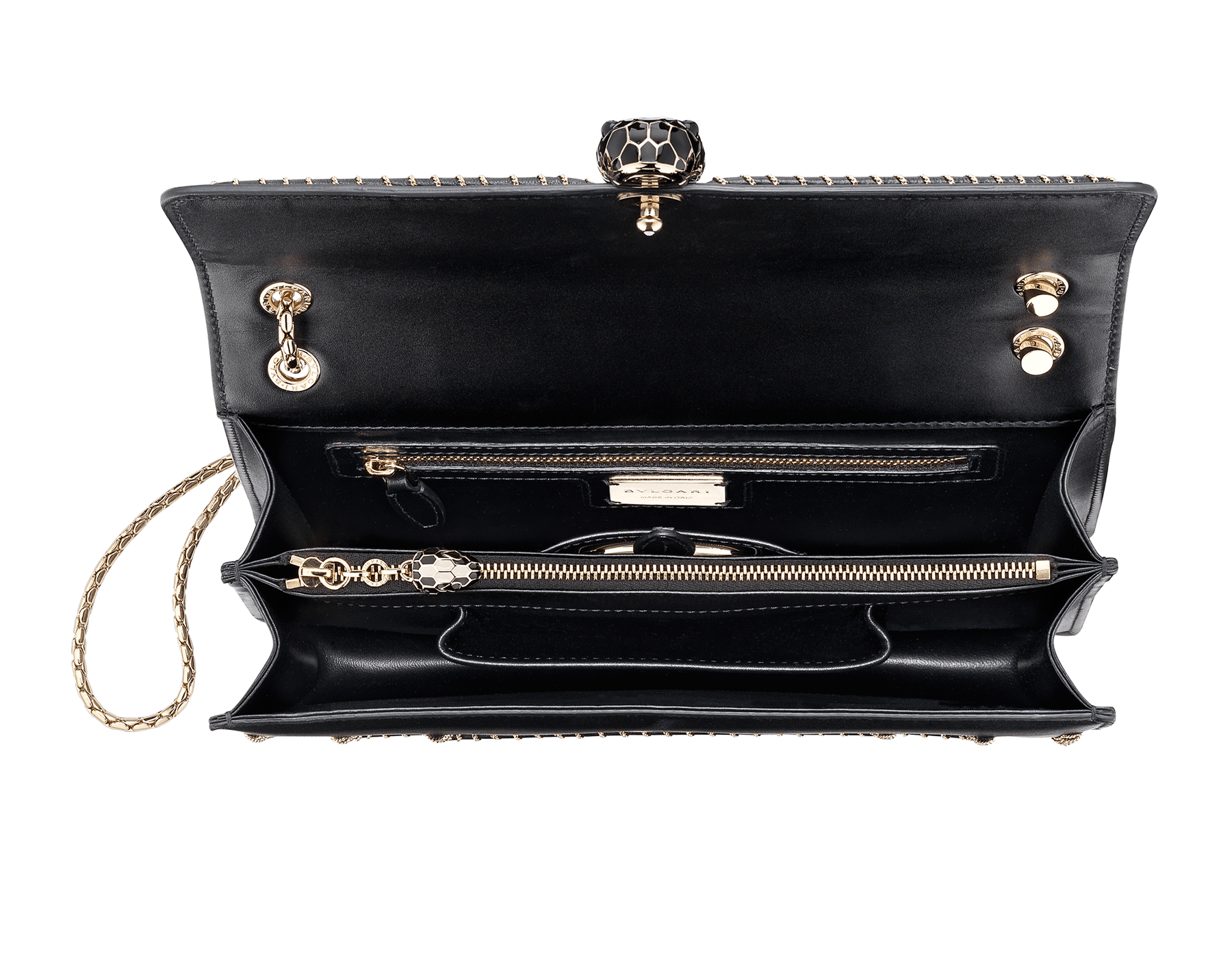 """Serpenti Forever"" shoulder bag in black calf leather, featuring a Woven Chain motif. Iconic snakehead closure in light gold plated brass enriched with black enamel and black onyx eyes 521-WC image 4"