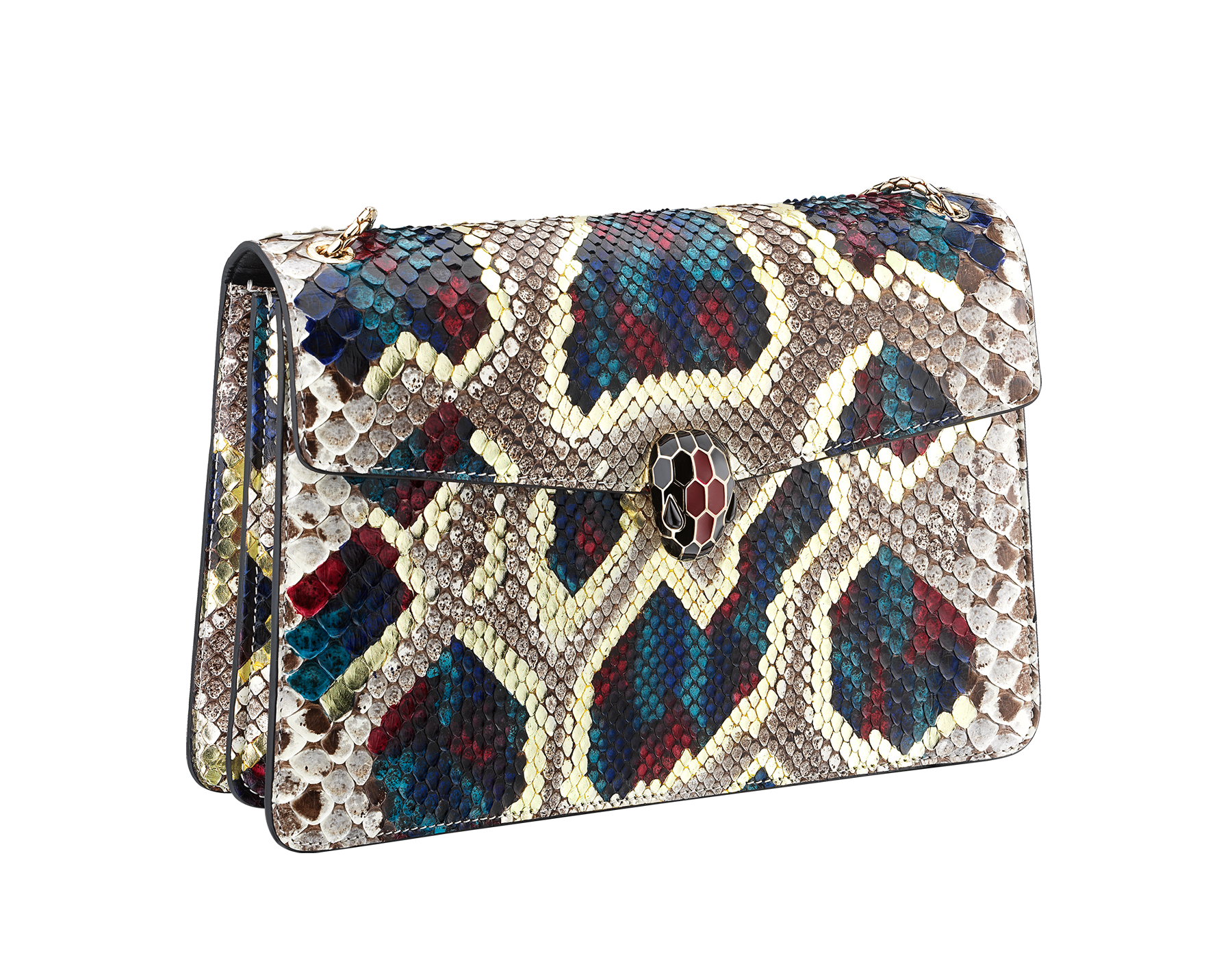 """Serpenti Forever"" shoulder bag in white agate Lunar python skin. Iconic snakehead closure in light gold plated brass enriched with black and roman garnet enamel and black onyx eyes. 521-Pa image 2"