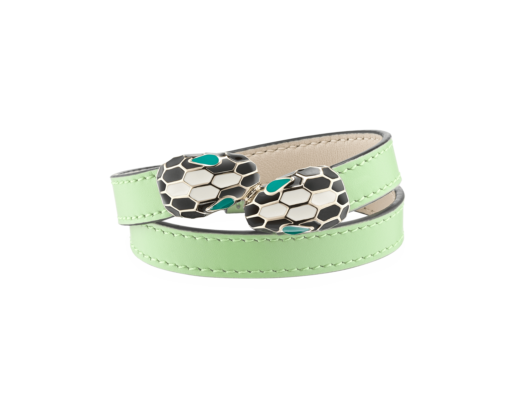Serpenti Forever multi-coiled bracelet in mint calf leather, with light gold plated brass hardware. Iconic contraire snakehead décor in black and white agate enamel, with emerald green enamel eyes. MCSerp-CL-M image 1
