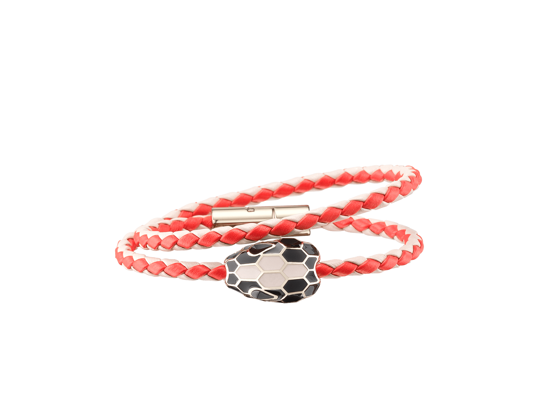 Serpenti Forever multi-coiled braid bracelet in sea star coral and milky opal woven calf leather with an iconic snakehead decoration in black and milky opal enamel. 288353 image 1