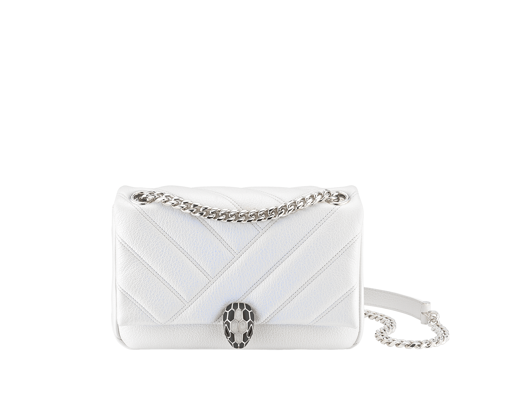 """Serpenti Cabochon"" shoulder bag in soft quilted white agate goatskin with a pearled, iridescent effect and a graphic motif. Brass palladium plated tempting snake head closure in matte black and shiny white enamel and black onyx eyes. 290236 image 1"