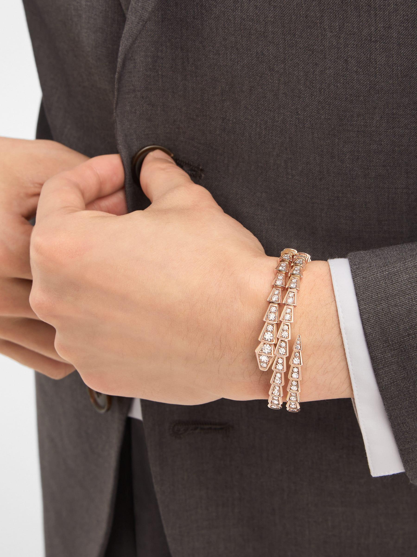 Bracelet deux tours Serpenti Viper en or rose 18K avec pavé diamants BR858796 image 3