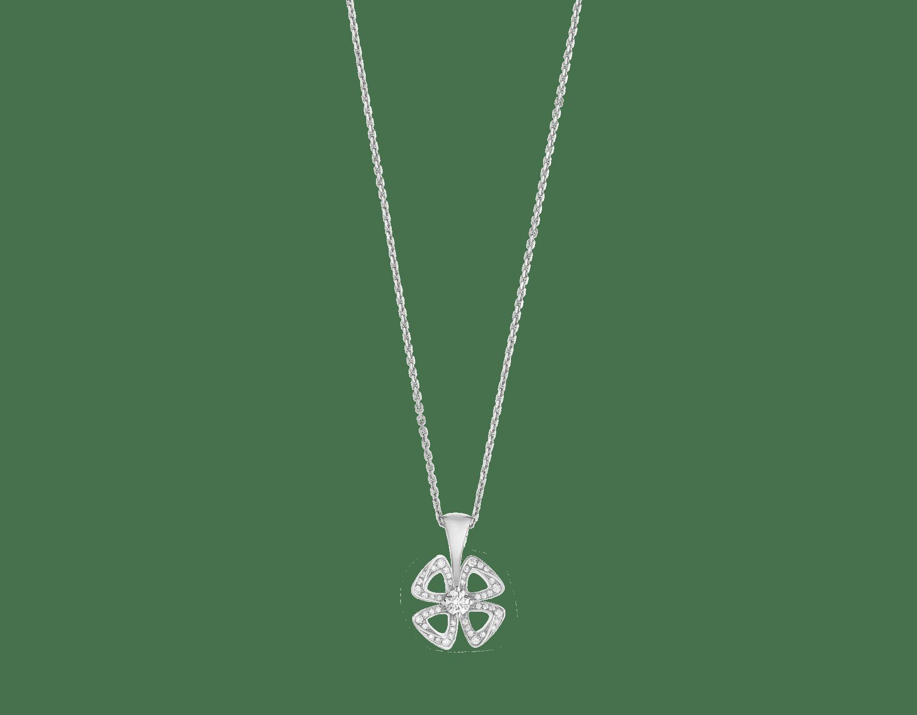 Fiorever 18K 白金項鍊,鑲飾 1 顆明亮型切割鑽石(0.10 克拉)和密鑲鑽石(0.06 克拉)。 358157 image 1
