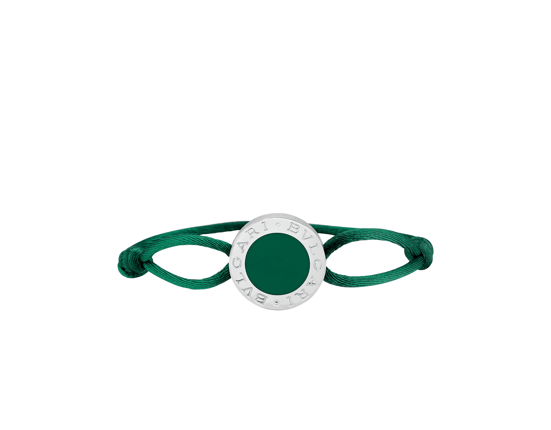"""BVLGARI BVLGARI"" bracelet in emerald green fabric with an iconic logo décor in sterling silver and black enamel. BRACLT-LUCKYUb image 1"